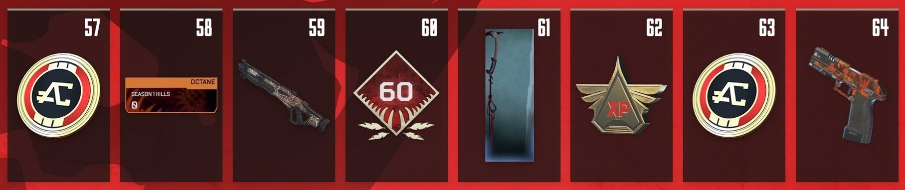 Apex Legends Battle Pass Rewards Levels 57-64