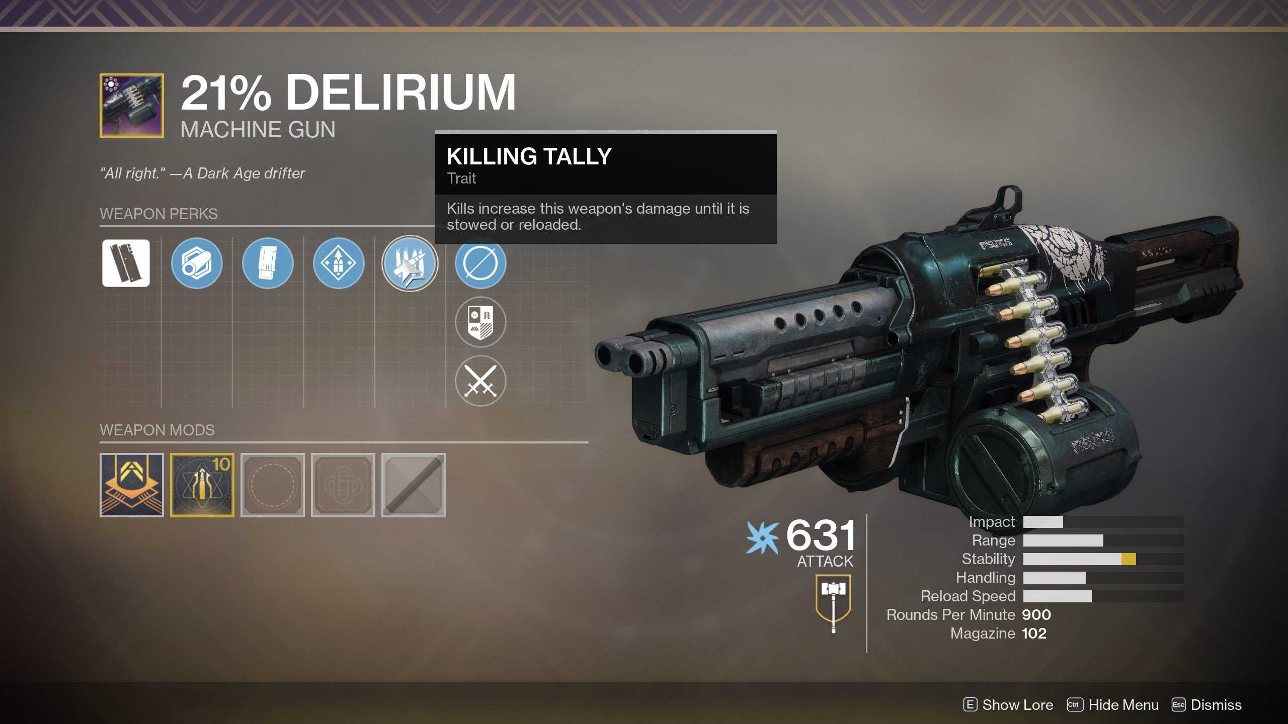 The 21% Delirium requires you to reset Infamy rank in Destiny 2
