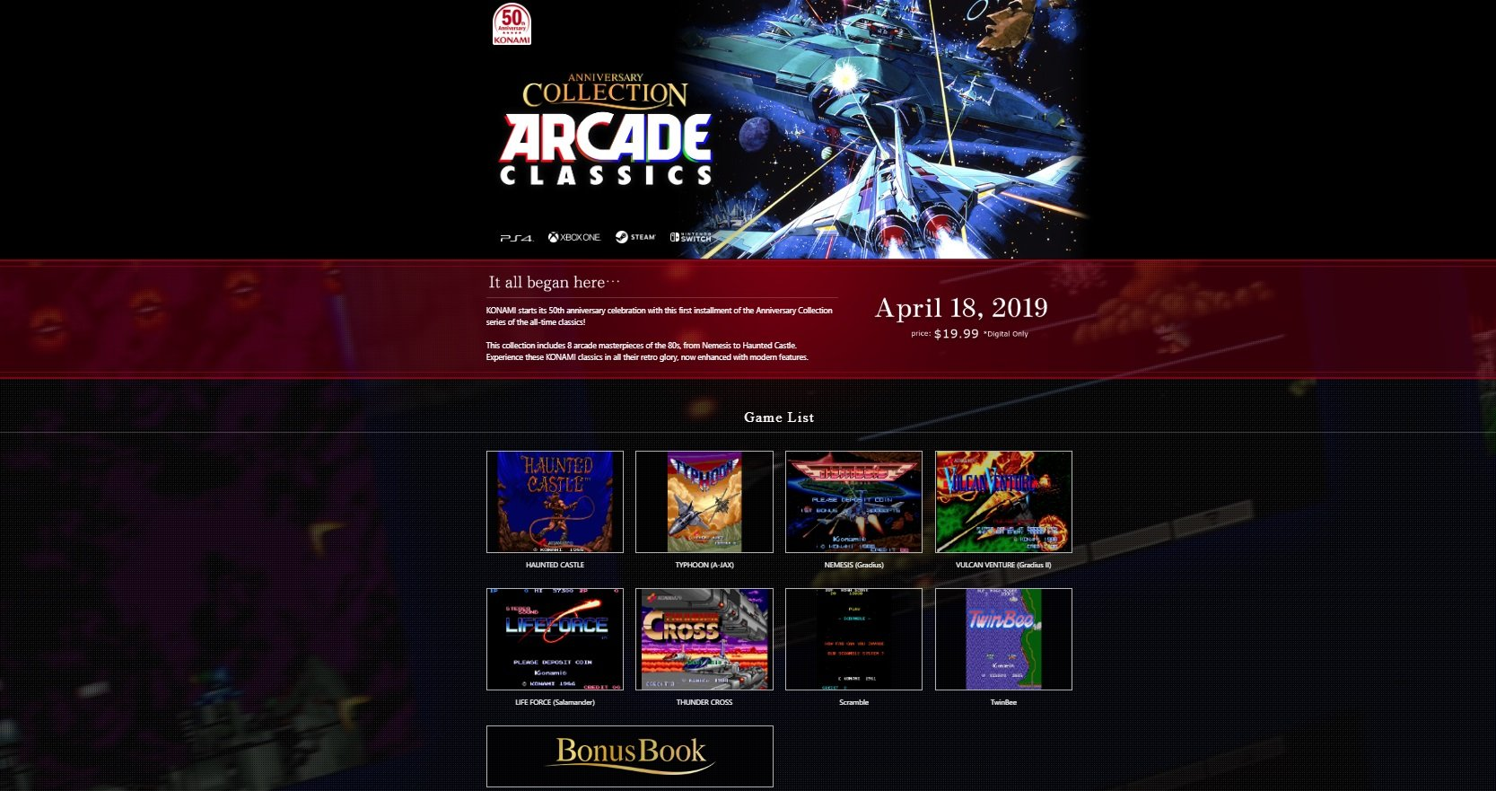 The first Anniversary Collection to release is the Arcade Classics set which will be available on Xbox One, PlayStation 4, Nintendo Switch, and PC via Steam starting April 18.