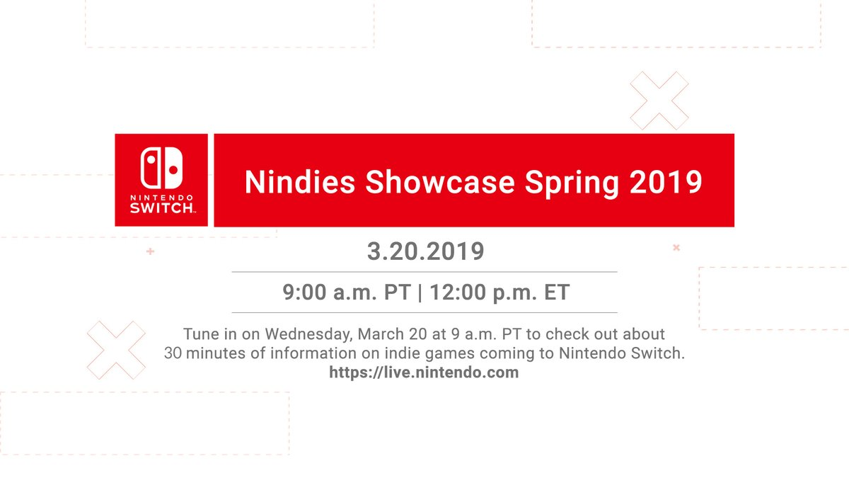 The Nintendo Nindie Showcase livestream is scheduled to begin on March 20, 2019