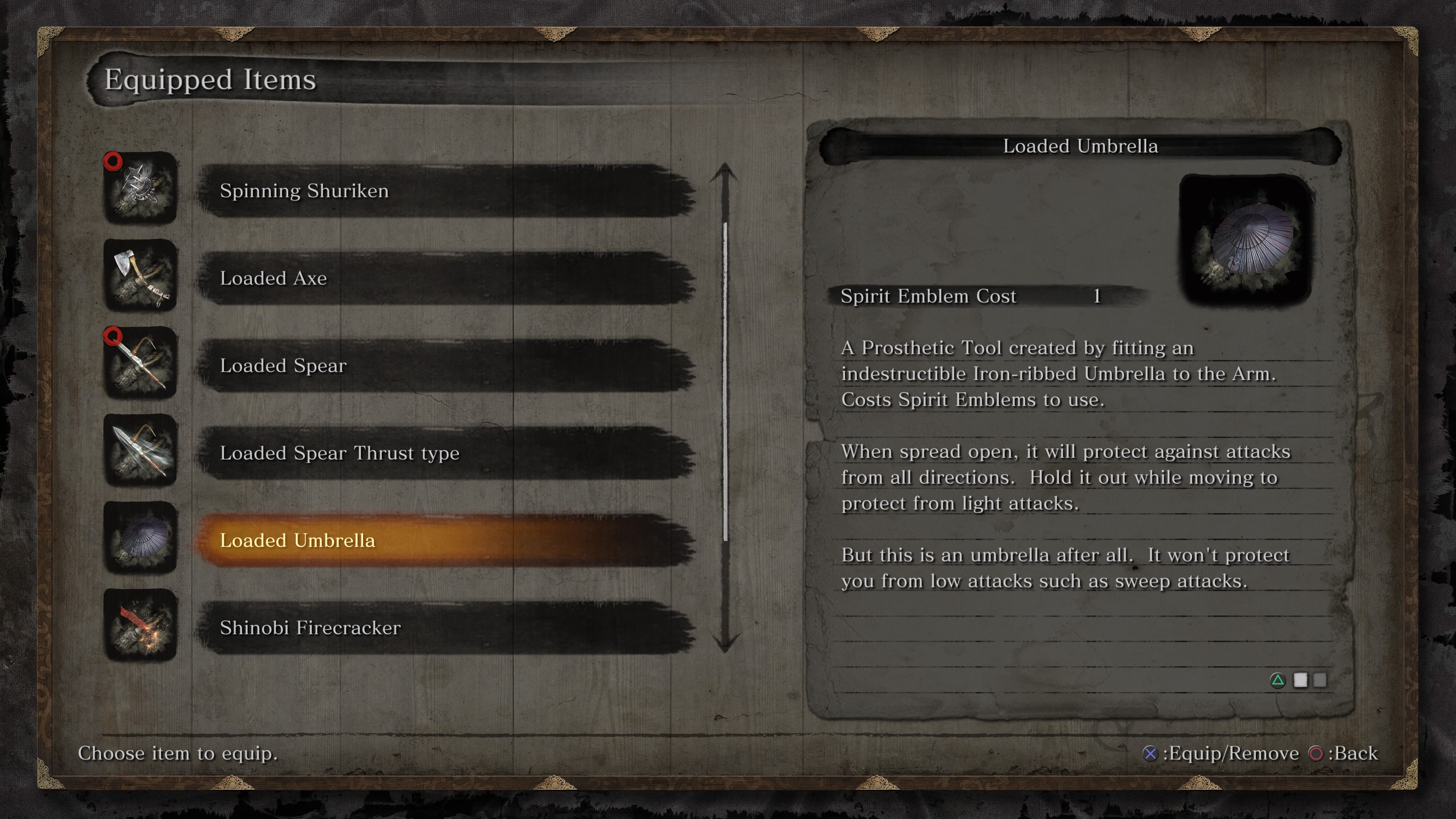 Where to find the Loaded Umbrella shinobi prosthetic tool in Sekiro: Shadows Die Twice