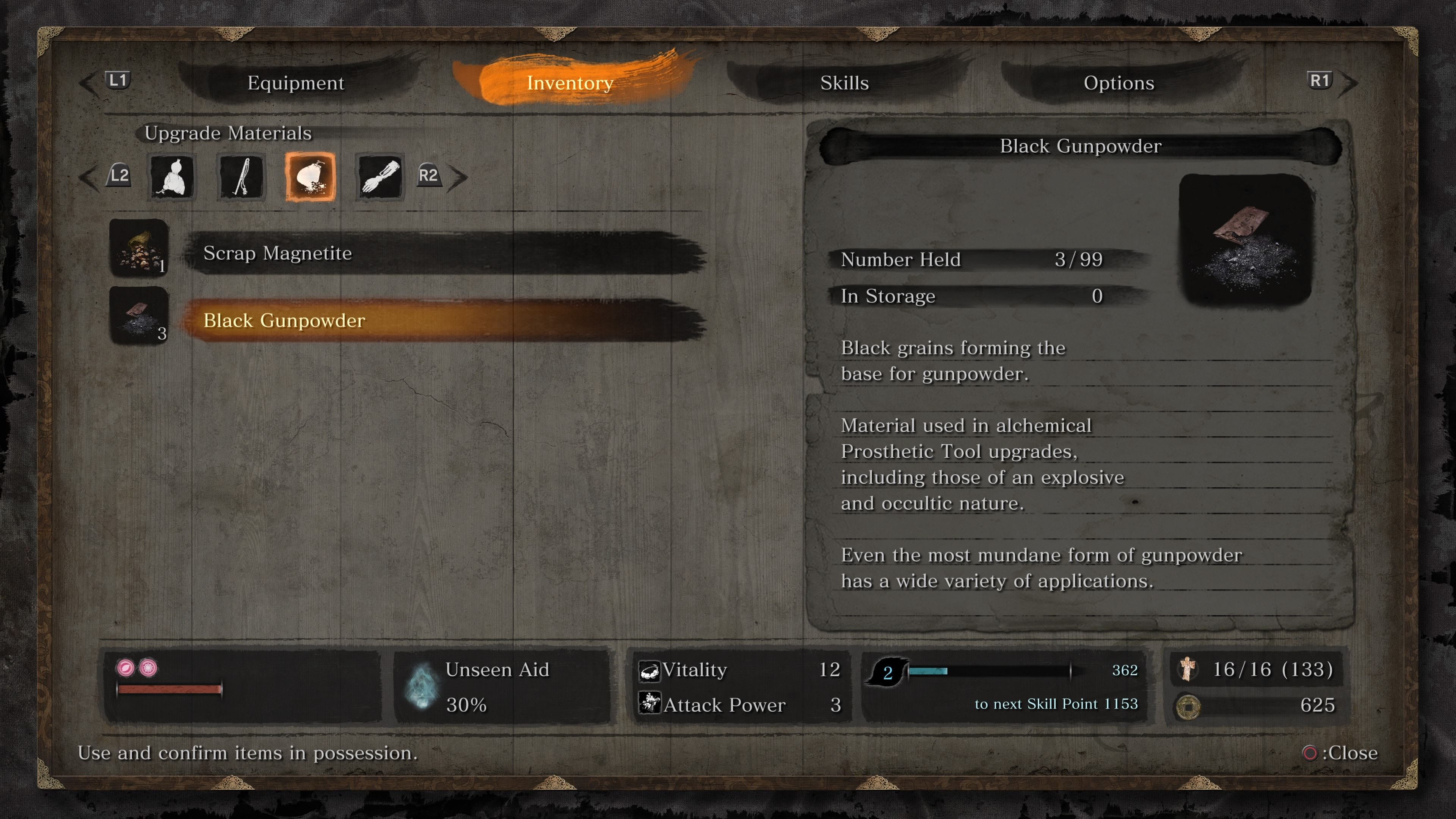 Where to find Black Gunpowder shinobi prosthetic upgrades Sekiro: Shadows Die Twice