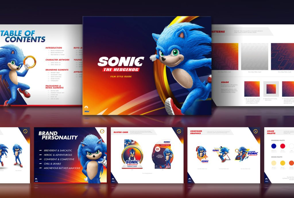 The branding deck provided to ad agency Hamagami/Carroll, Inc. show live-action Sonic in all his glorious weirdness.