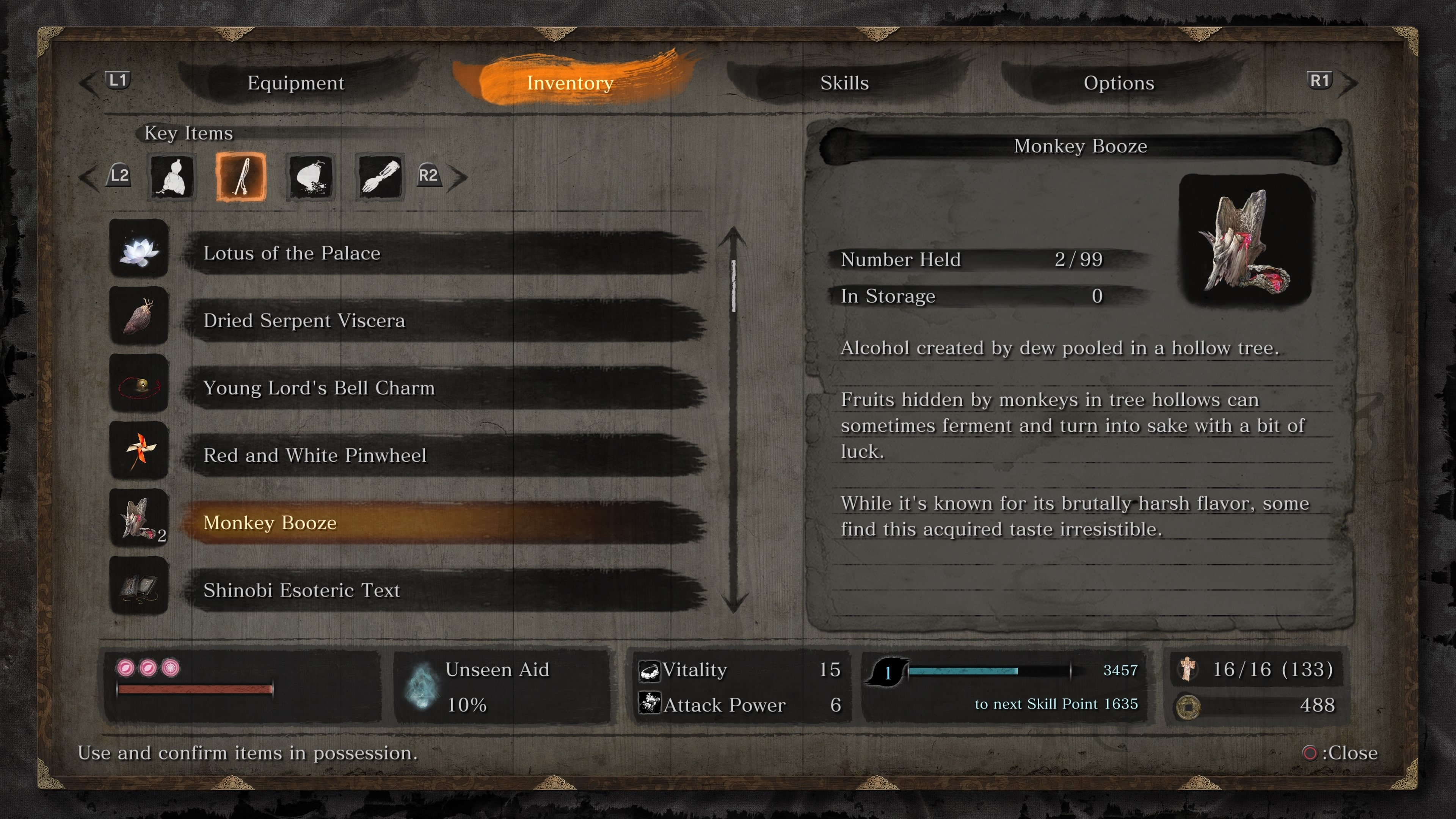 What to use Monkey Booze for in Sekiro: Shadows Die Twice