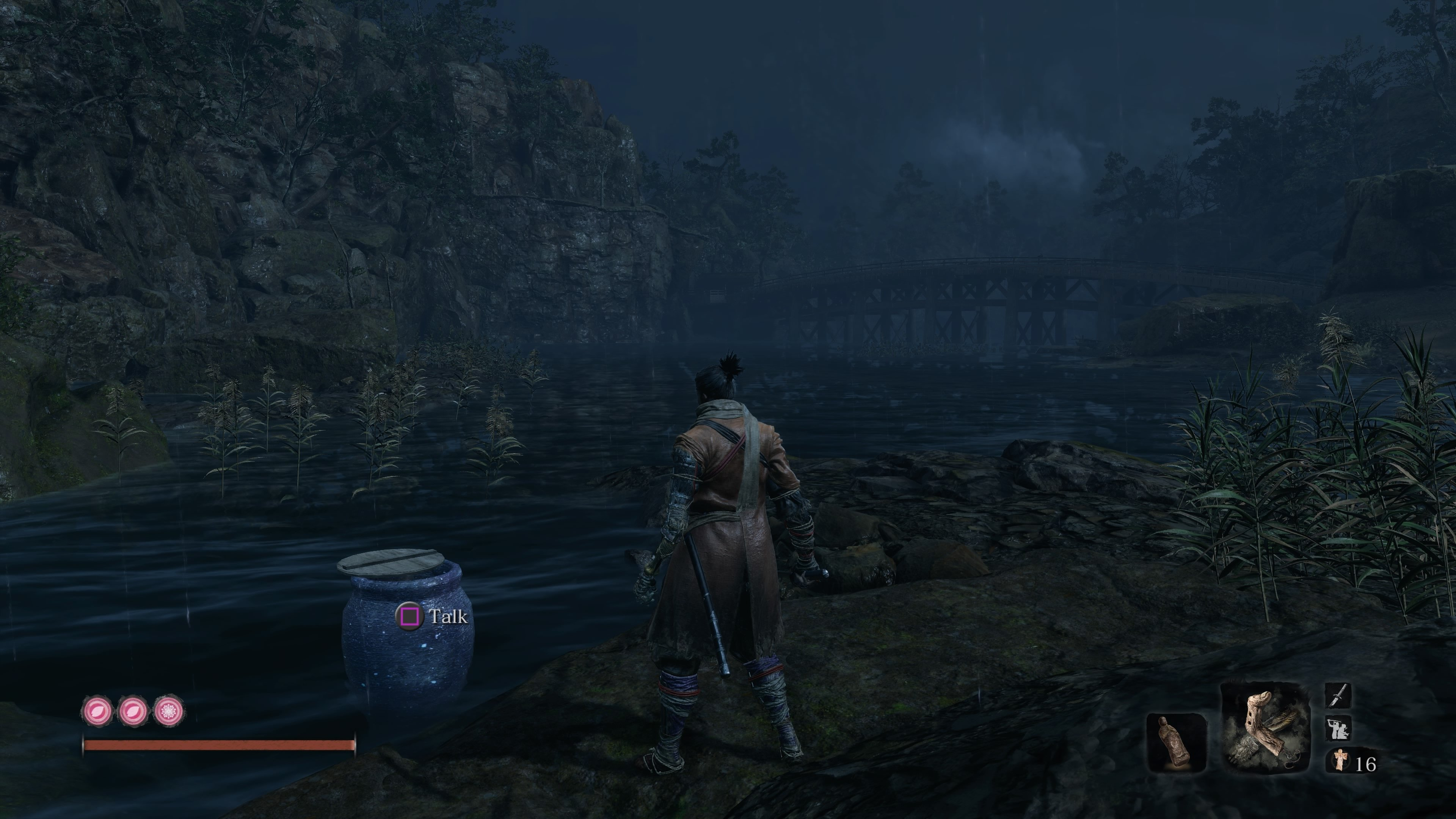 Dive and swim underwater in Sekiro Hirata Estate