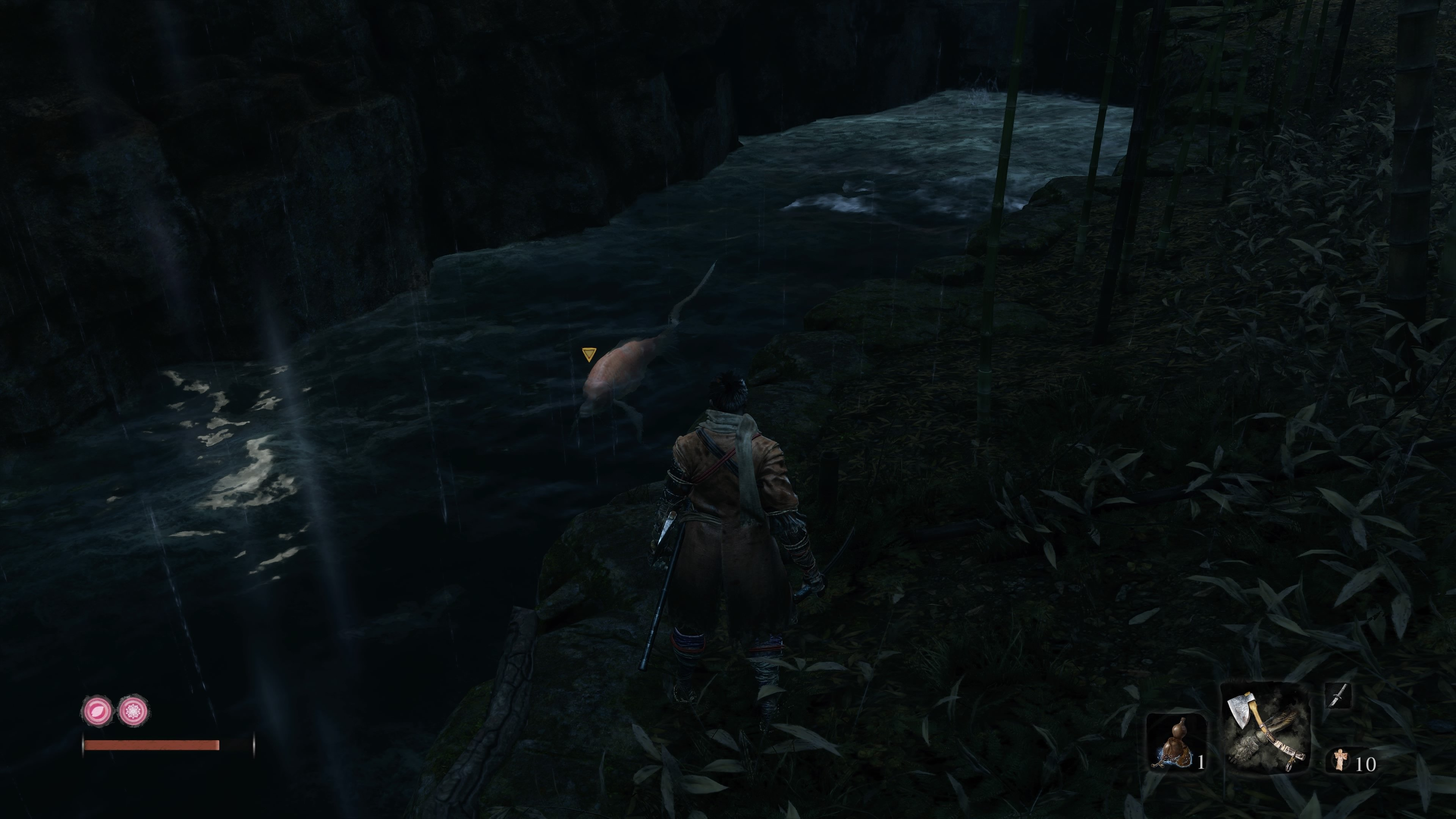Jump down off the tall bridge after the Bamboo Thicket Shrine to find these two Treasure Carp