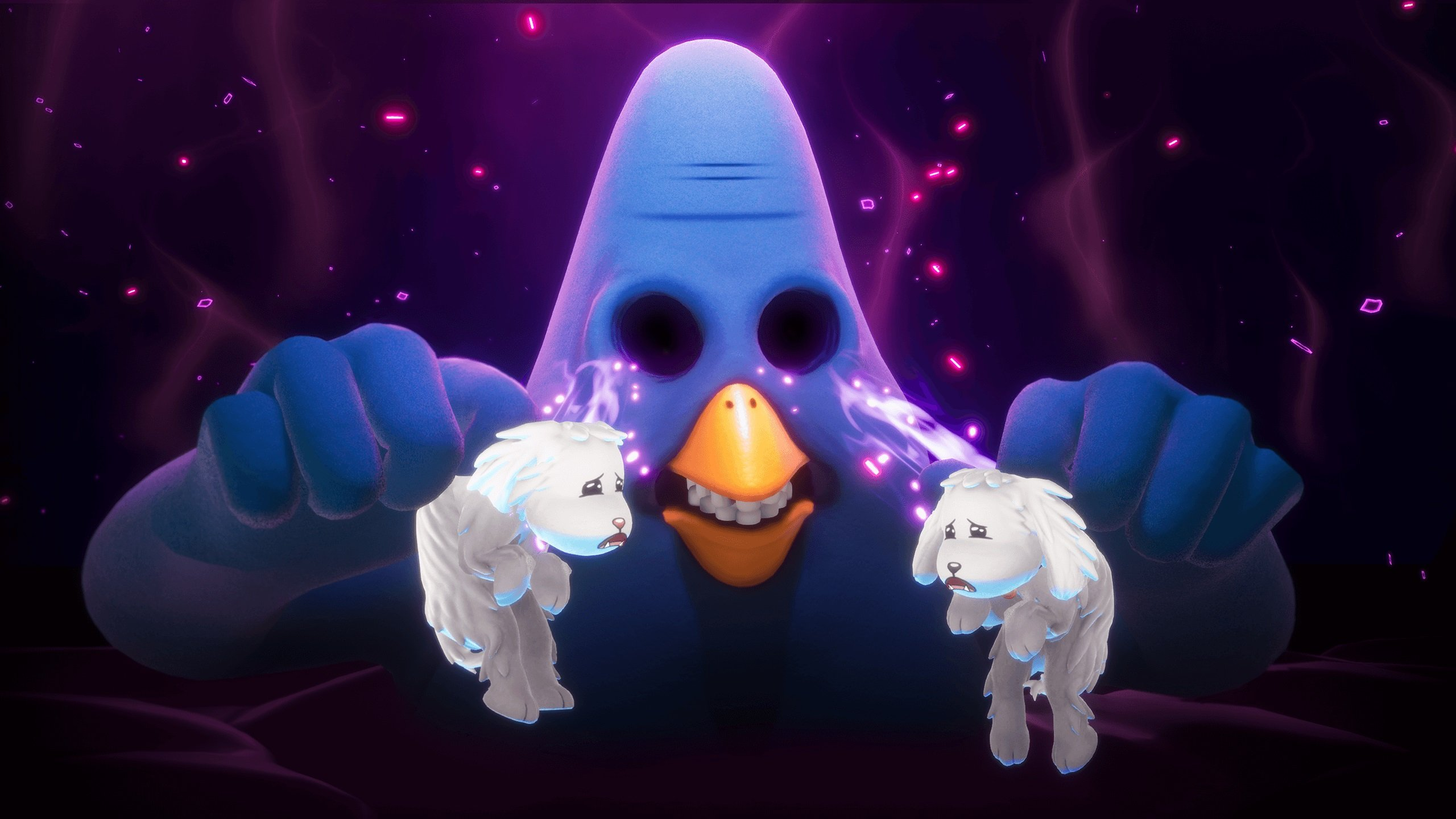Trover Saves the Universe opens with a monster shoving both of your dogs into his eye sockets.