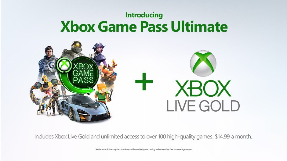 Microsoft unveiled plans to combine Xbox Live Gold and Xbox Game Pass in one service, Xbox Game Pass Ultimate. © Microsoft