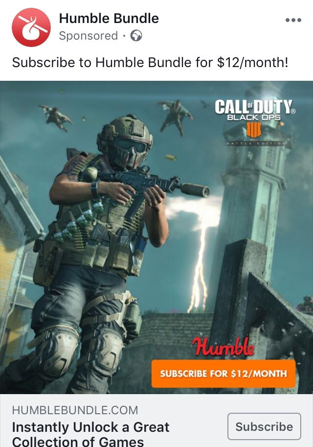 free black ops 4 monthly humble bundle