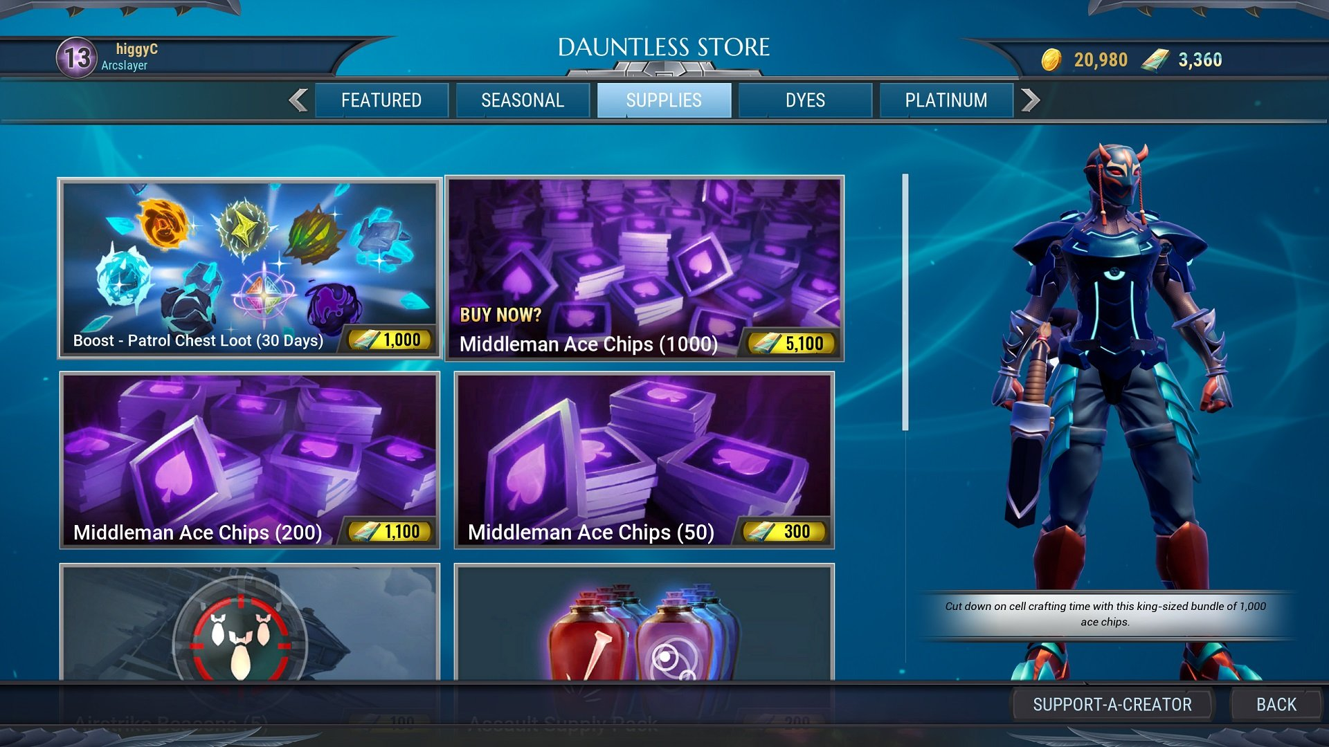 Dauntless cell fusion ace chips cost