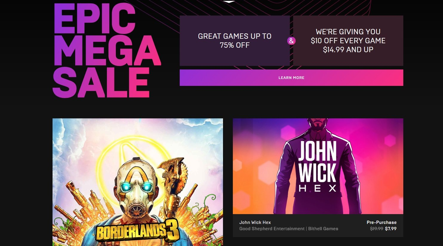 Epic Games is hosting a Mega Sale with discounts on all games including pre-orders of John Wick Hex.