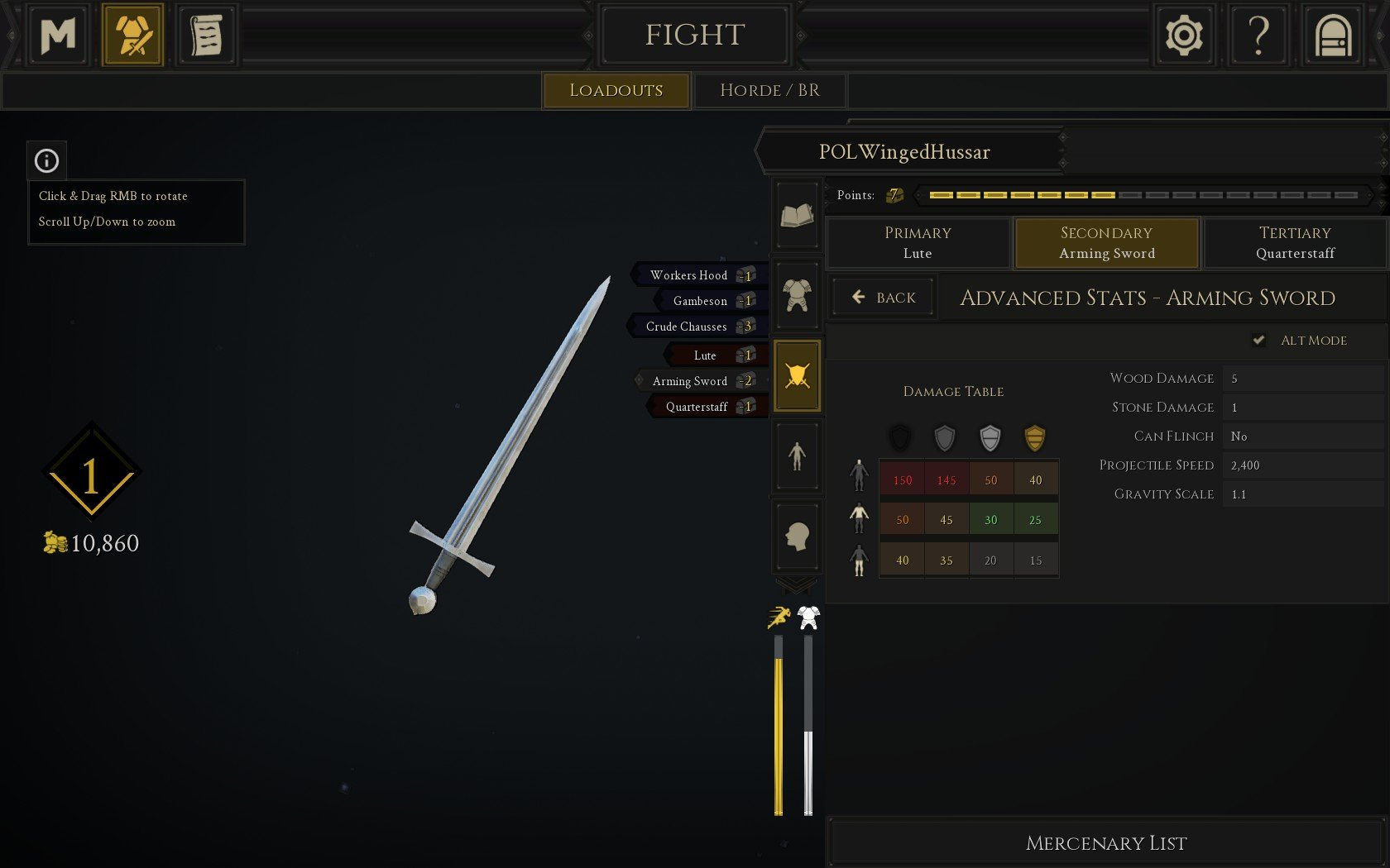 You can check to see if a weapon is throwable by viewing its Advanced Stats and checking Alt Mode in the armory section of Mordhau.