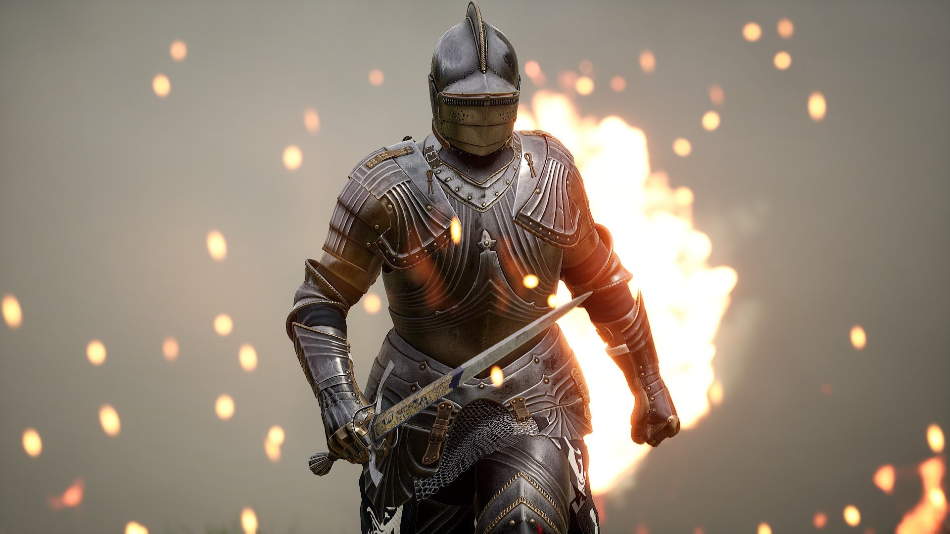 You can fine-tune your mercenary to your liking both in terms of exterior appearance and their weapons loadout in Mordhau.