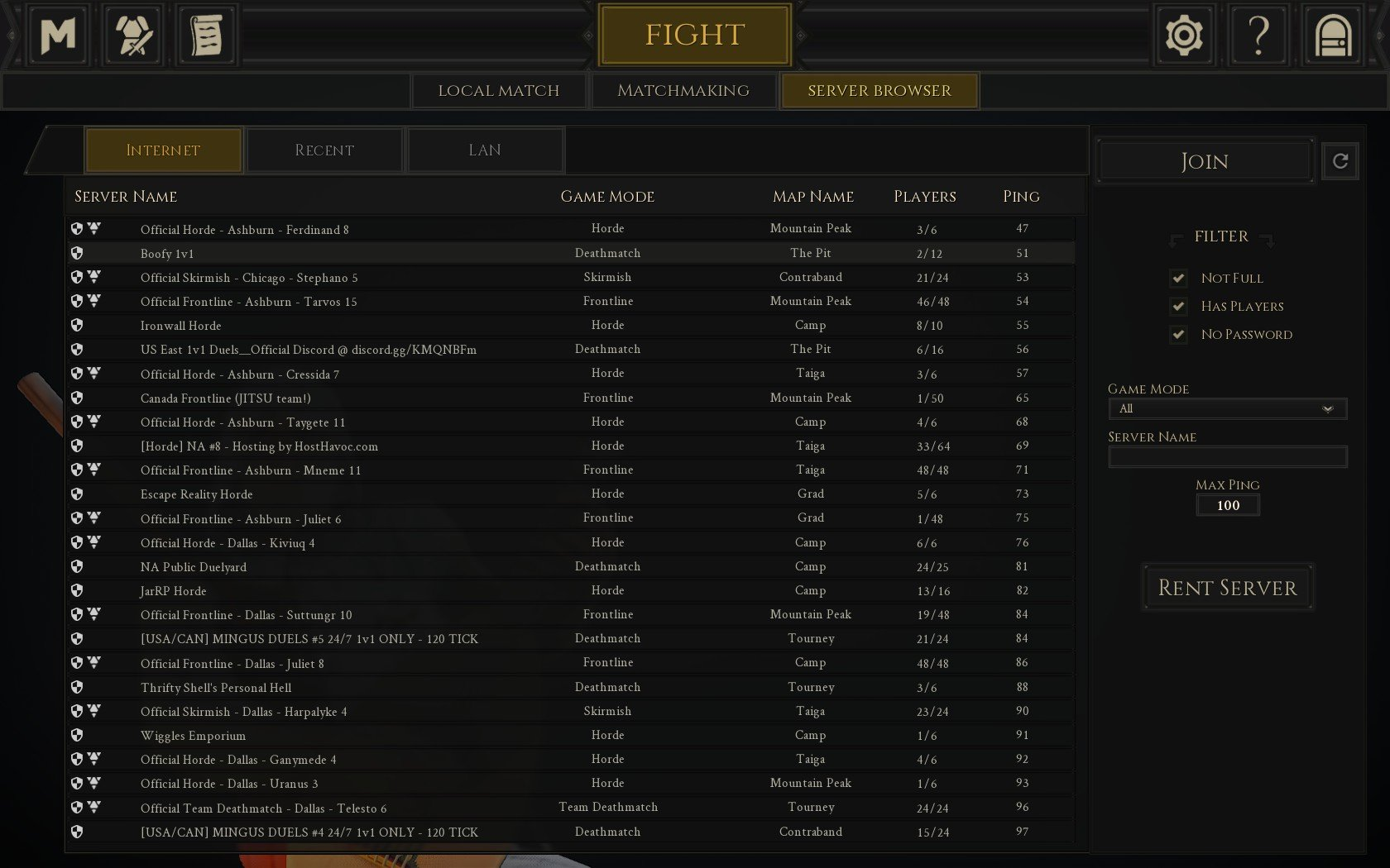 In the Server Browser tab, you'll find game mode options including Skirmish, Deathmatch, Team Deathmatch, Duels, and other misc options in Mordhau.