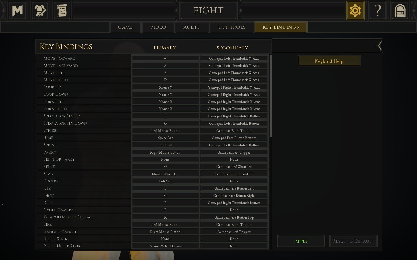 You can find a list of your PC controls and edit your keybindings by navigating to the Settings menu, then selecting the Key Bindings tab in Mordhau.