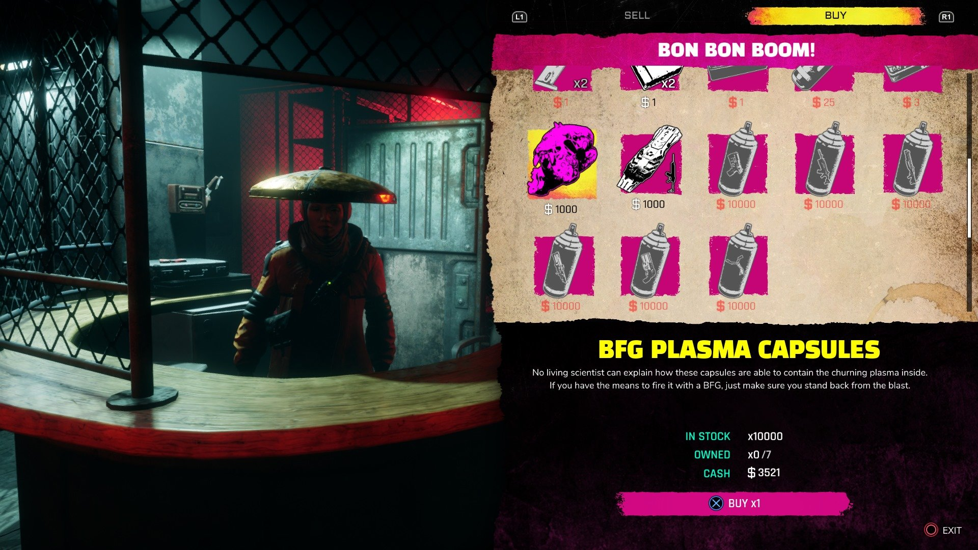 To get more BFG 9000 ammo you'll need to visit the Bon Bon Boom shop in Wellspring and purchase it for $1,000 per round.