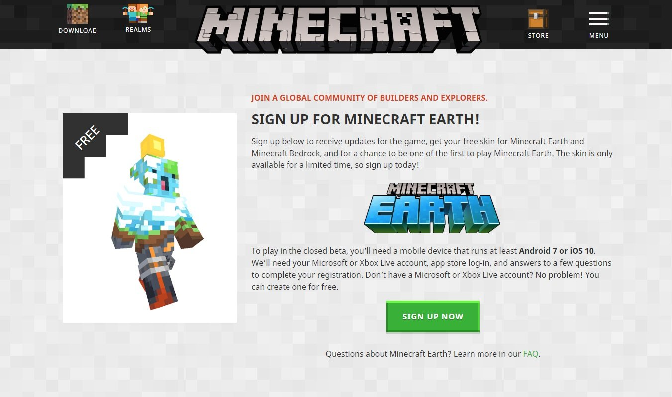 You can sign up for a chance to participate in the closed beta for Minecraft Earth later this summer.