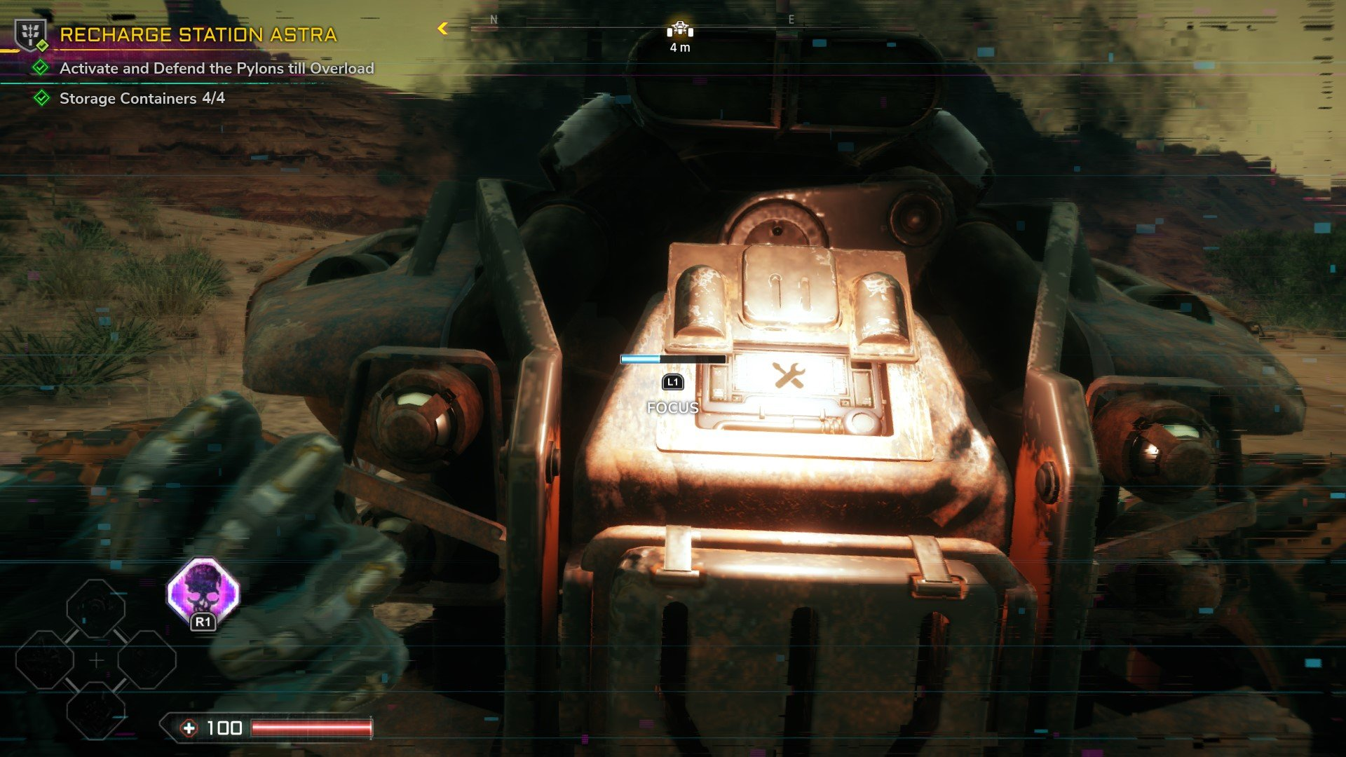 Hold L1 or LB to Focus on your vehicle and repair damage in Rage 2.