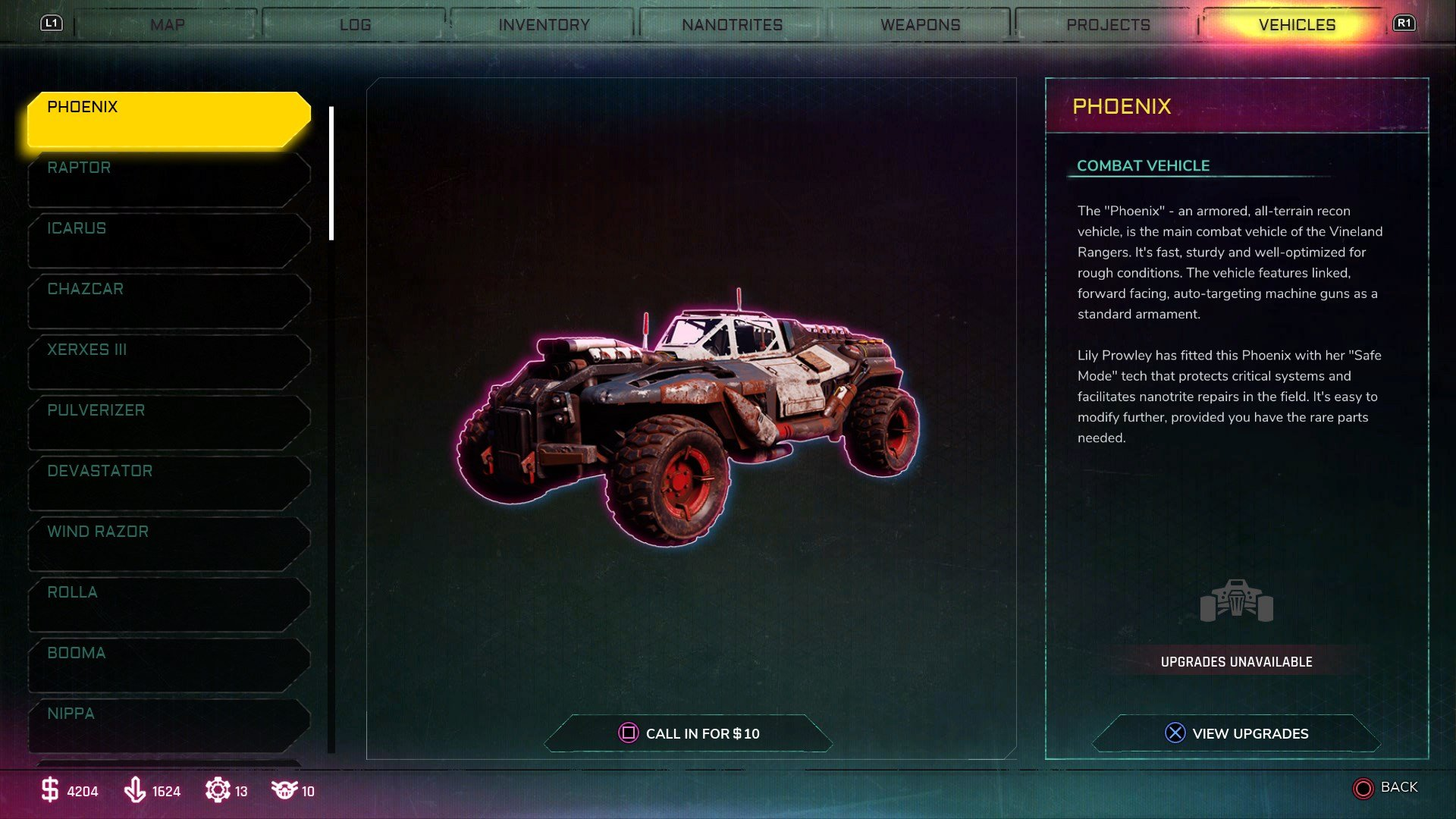 Open your in-game menu and select the Vehicles tab to view a list of available vehicles and upgrades for those vehicles in Rage 2.