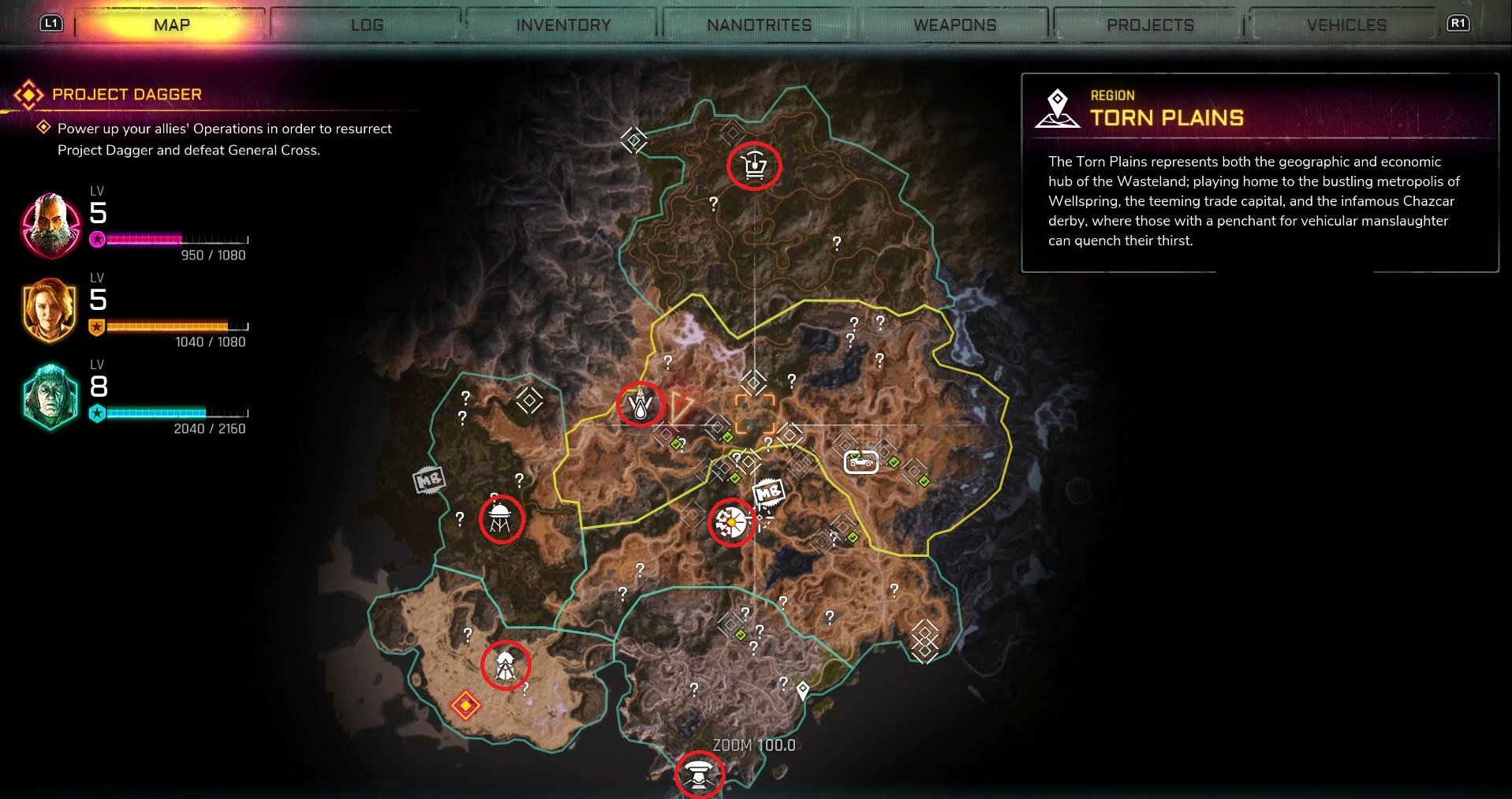 There are five main Trade Towns in Rage 2 which include Gunbarrel, Wellspring, Lagooney, Dreadwood, and Oasis.
