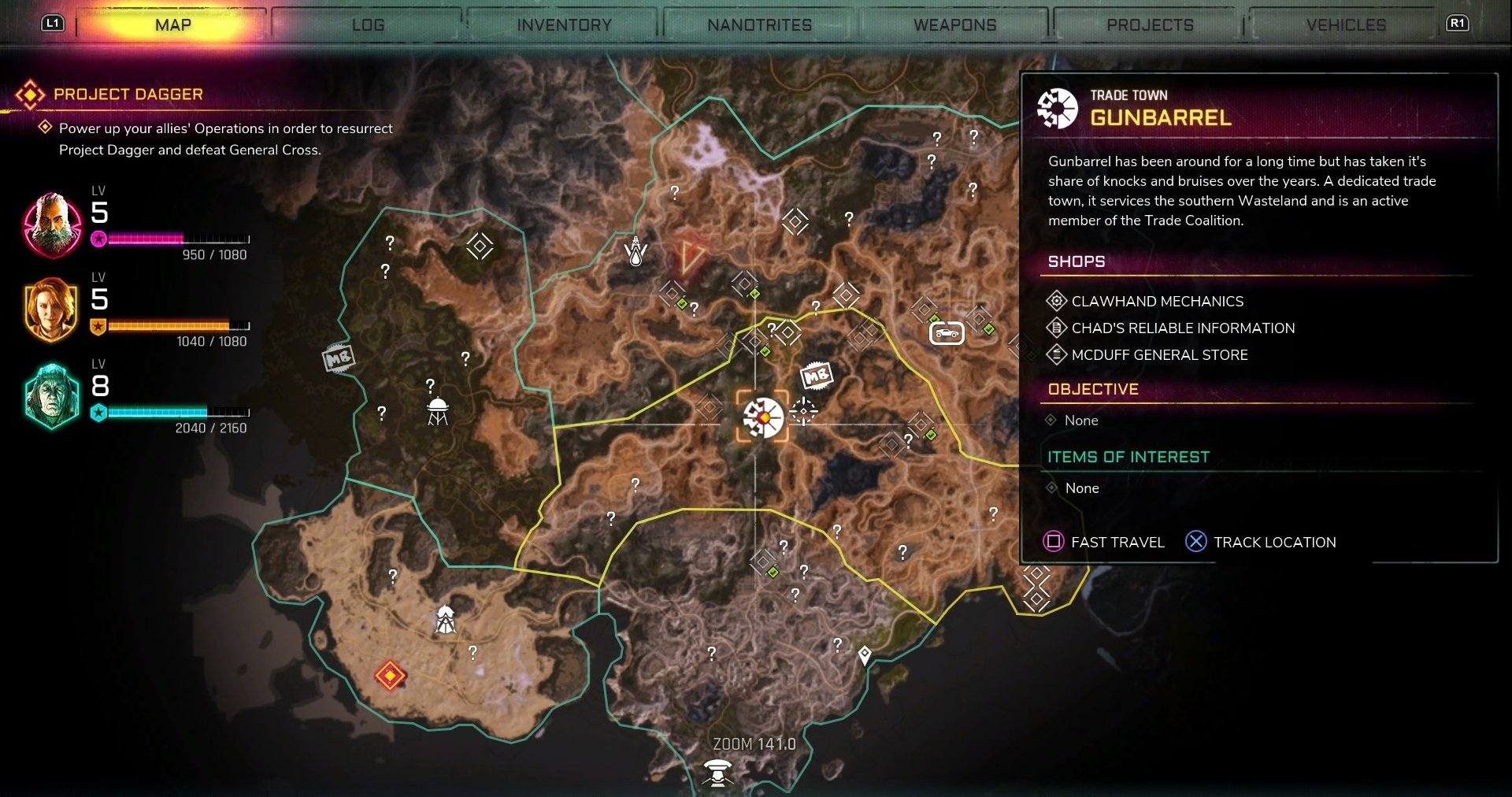 Gunbarrel is located in the Torn Plains region of Rage 2 and has three shops to buy items from.