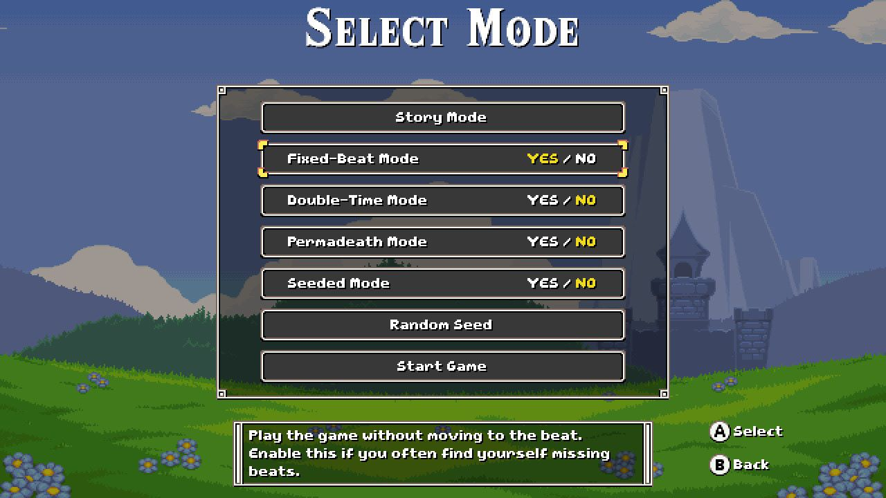 "To play Cadence of Hyrule with the rhythm mechanics turned off, choose ""Yes"" to turn the Fixed-Beat Mode on."