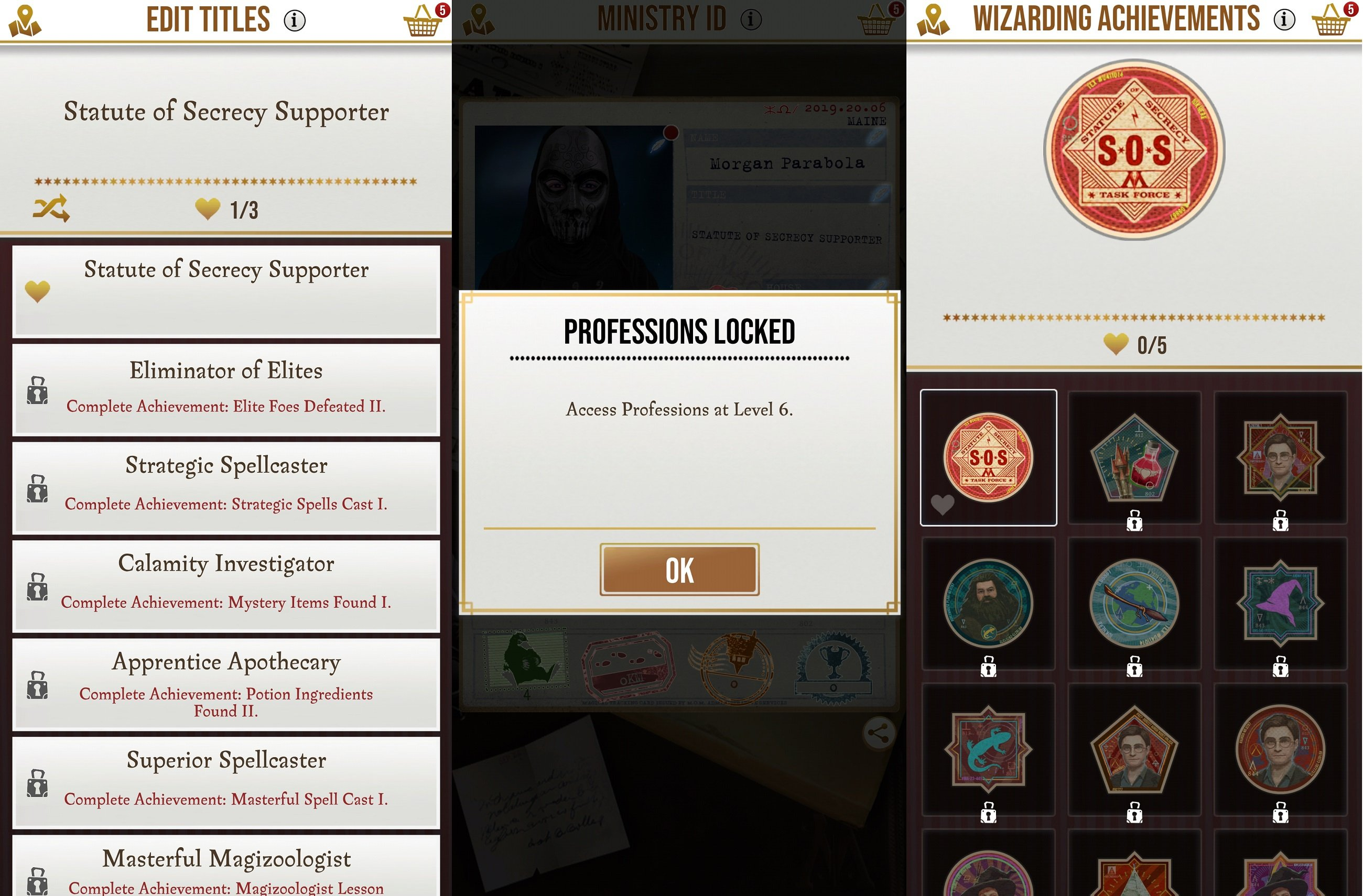 Things like Title, Profession, and Achievements all need to be unlocked as you play through Harry Potter Wizards Unite.
