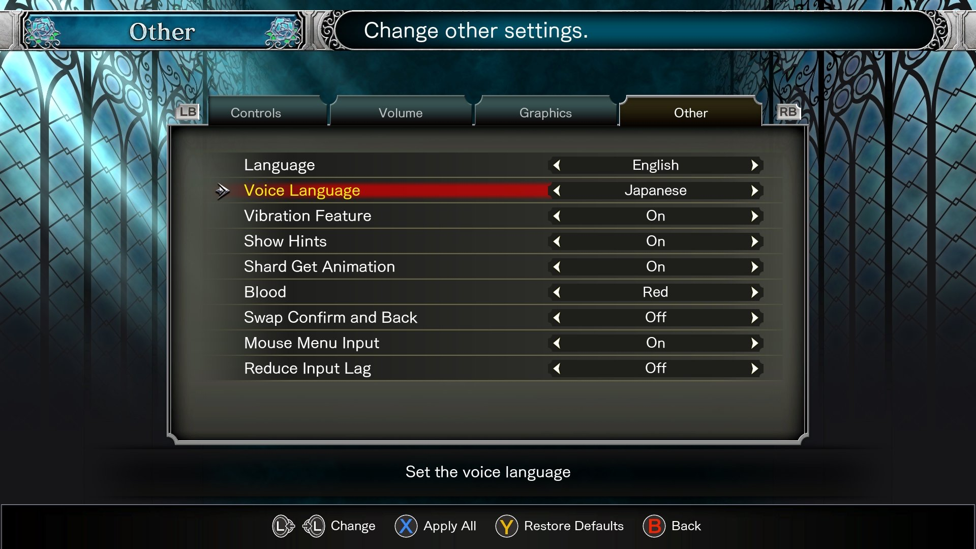 how to enable Japanese voices in Bloodstained: Ritual of the Night
