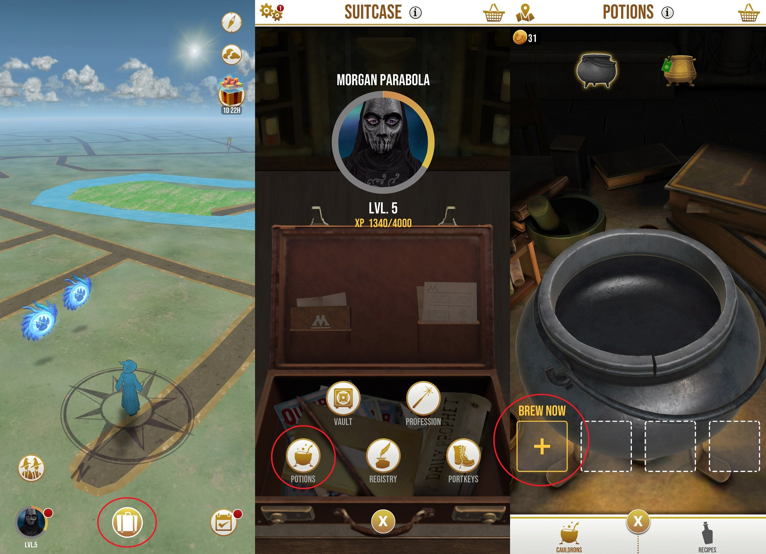 To brew Potions in Harry Potter Wizards Unite, you'll need to tap on your Suitcase, select Potions, then tap Brew Now to open your list of available Potions.