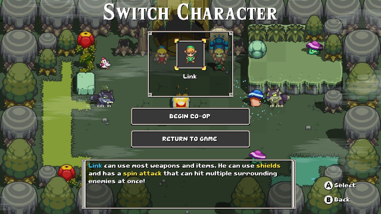 You can switch playable characters in Cadence of Hyrule by interacting with Sheikah Stones located throughout the world.