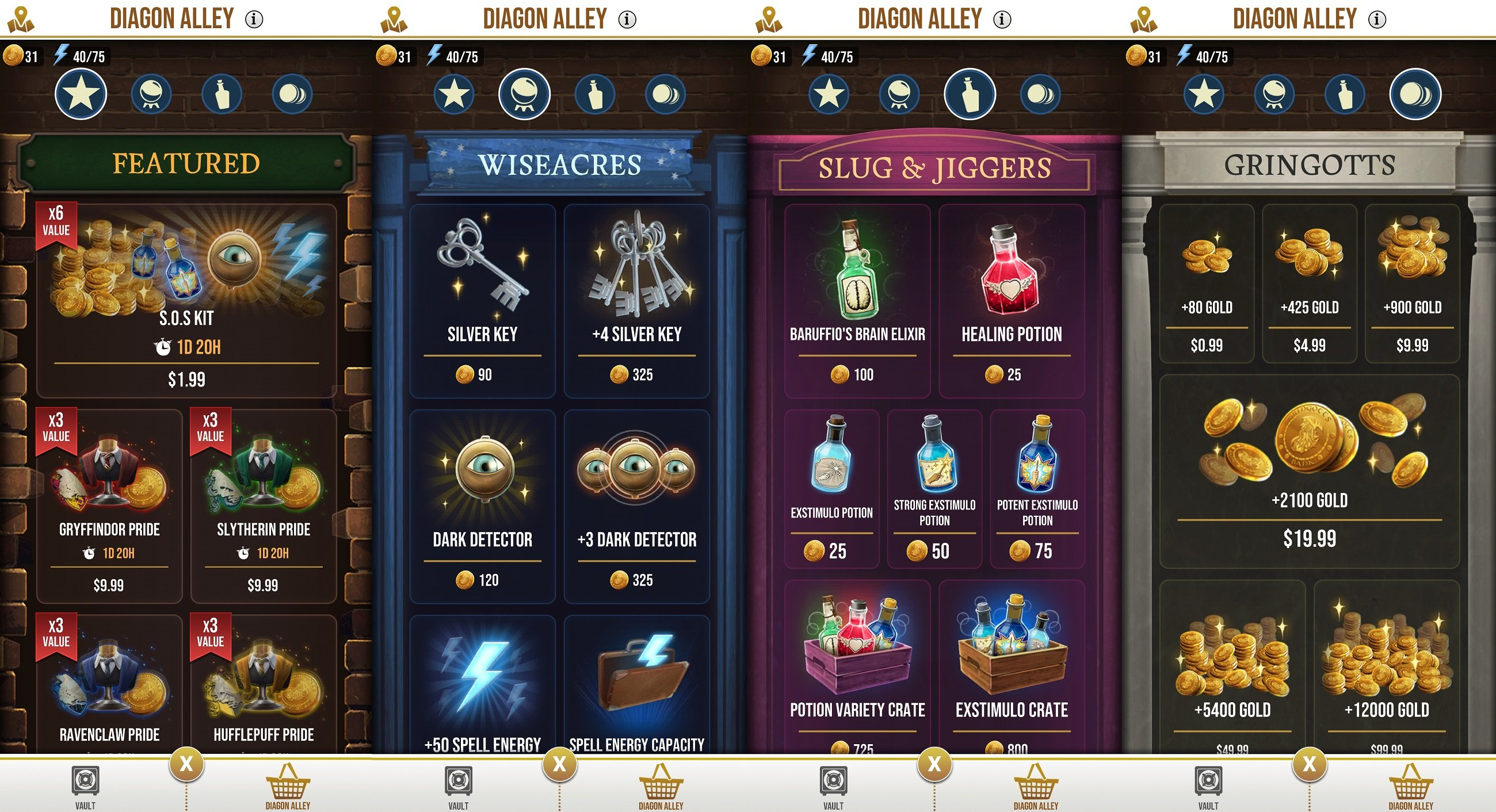 There are microtransactions in Harry Potter Wizards Unite, all of which can be purchased from the Diagon Alley in-game shop.