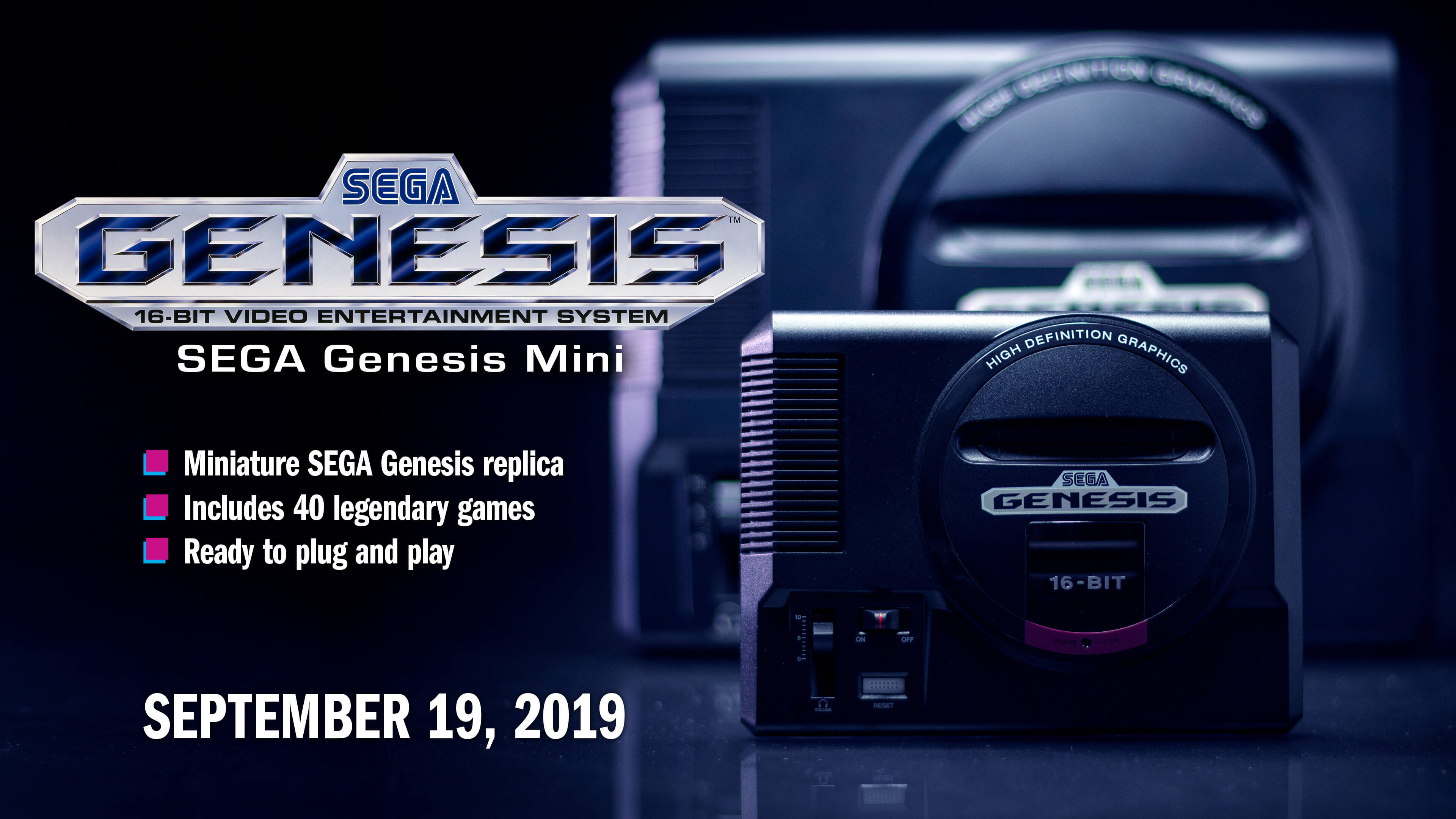 The Sega Genesis Mini is scheduled to release on September 19, 2019.