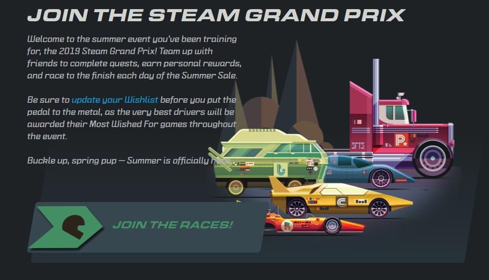 Both new and old games are available at a discount during the Steam Grand Prix Summer Sale.