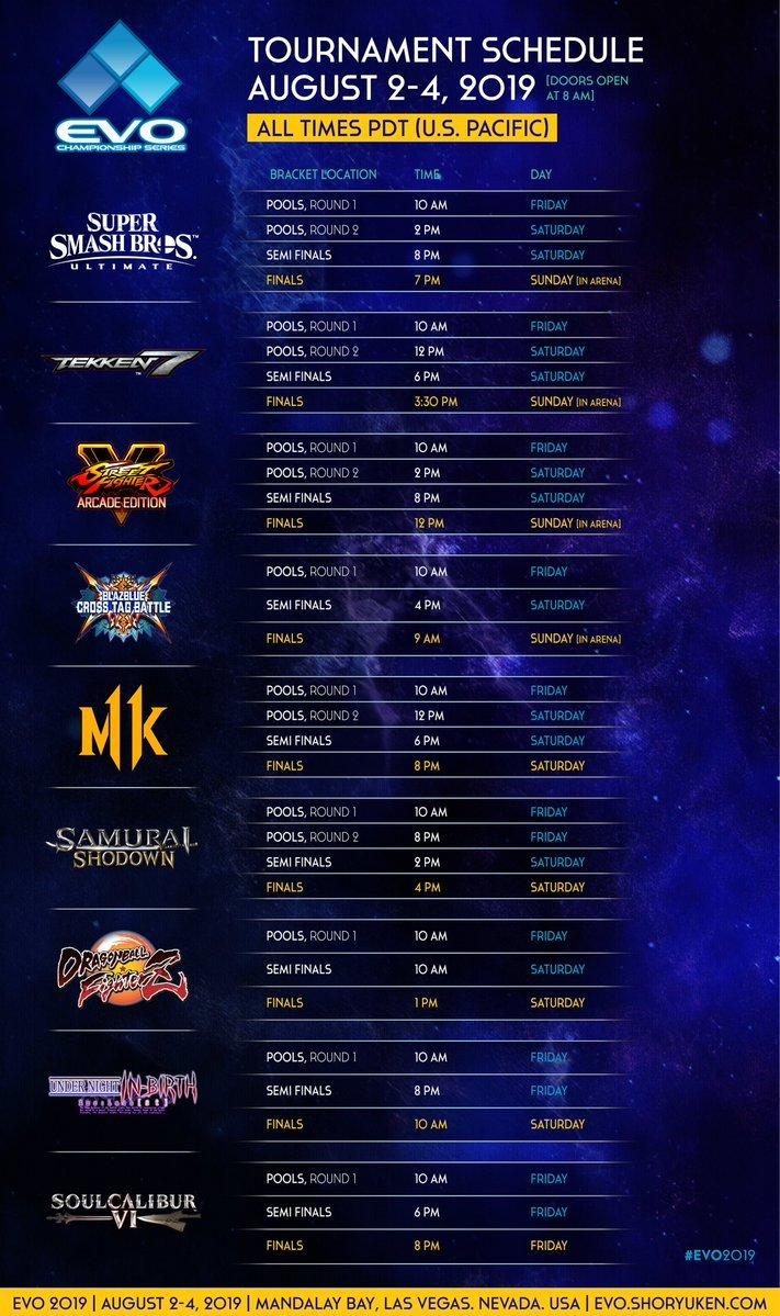 EVO 2019 schedule list by game smash street fighter tekken DBFZ