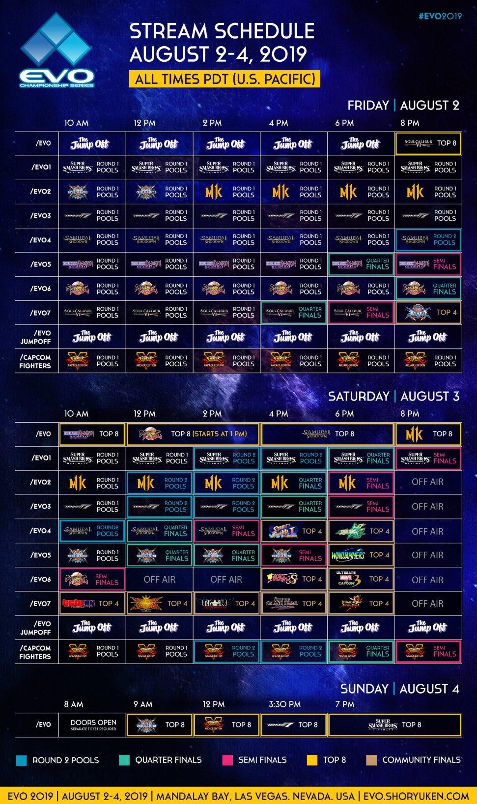 EVO 2019 Schedule Livestreams timezone