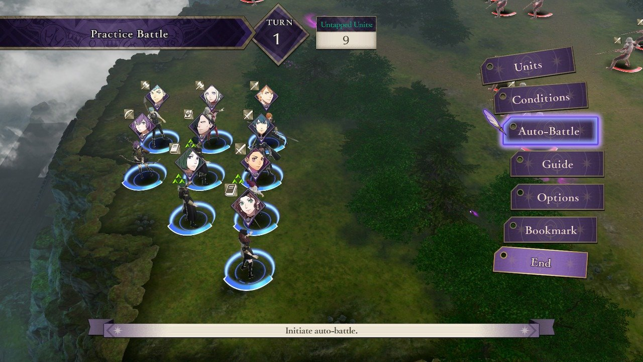 After selecting a square of Neutral Terrain, select Auto Battle to review the four different strategies available.