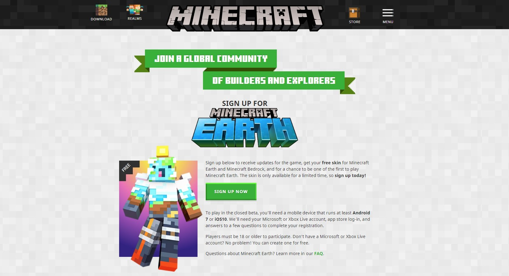 How to sign up for Minecraft Earth closed beta.
