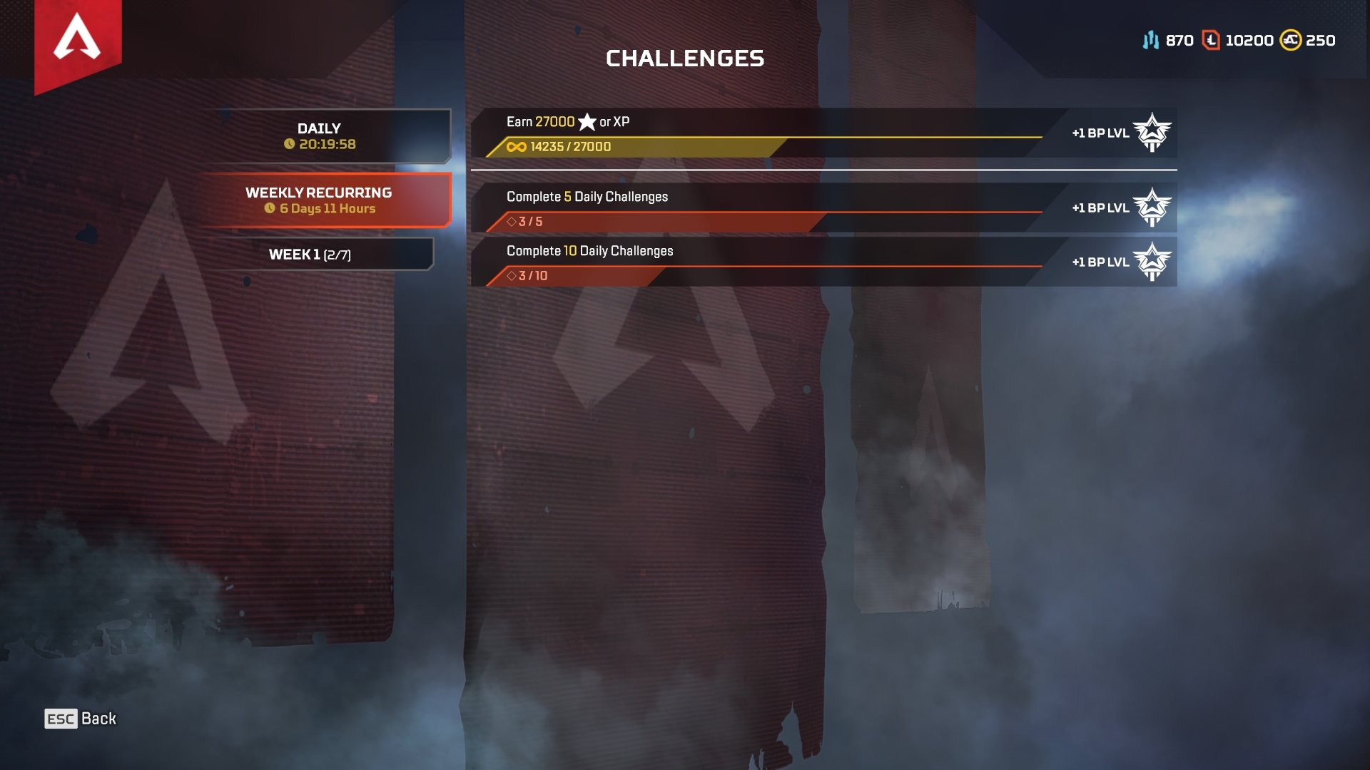 How to view Daily and Weekly challenges in Apex Legends Season 2 Battle Pass