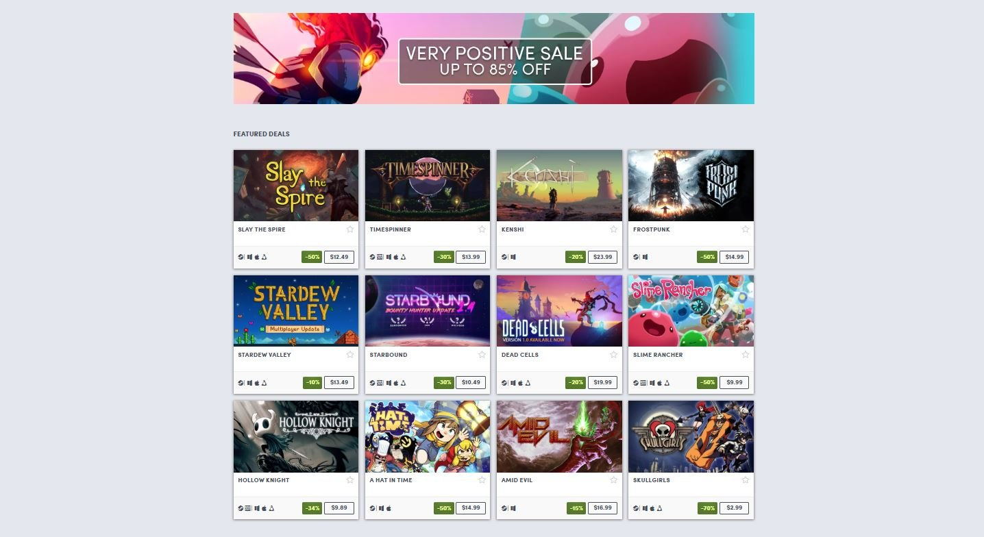Humble hosts Very Positive game sale