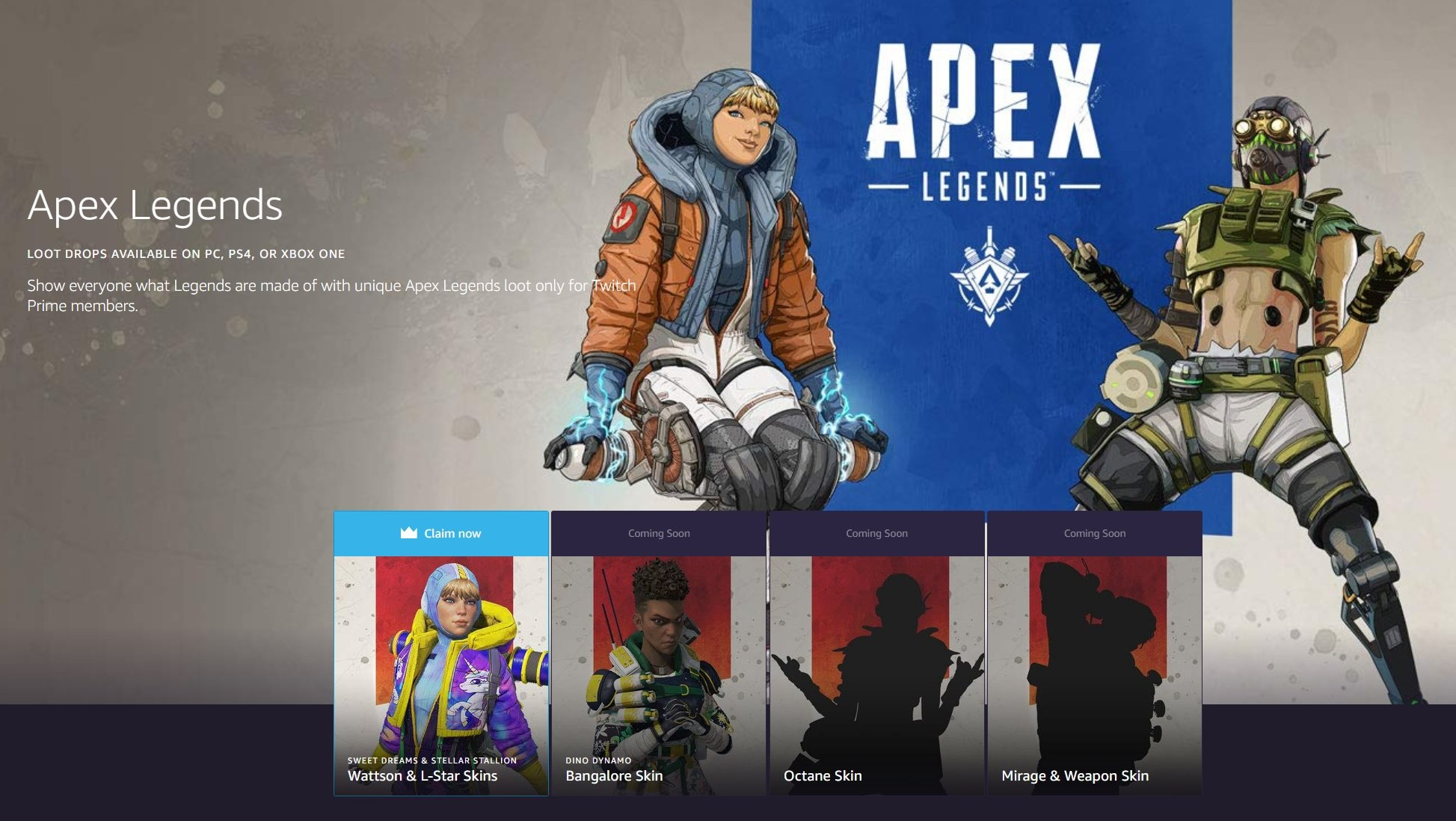 How to redeem Apex Legends Twitch Prime skins