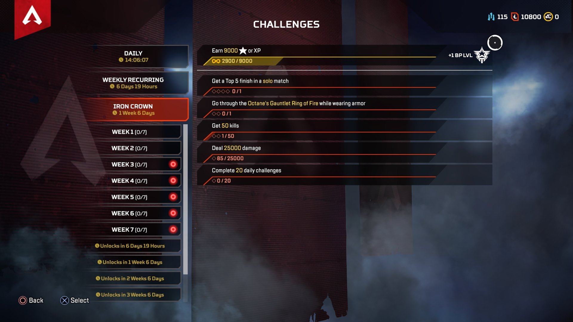 All Iron Crown Collection Event challenges in Apex Legends