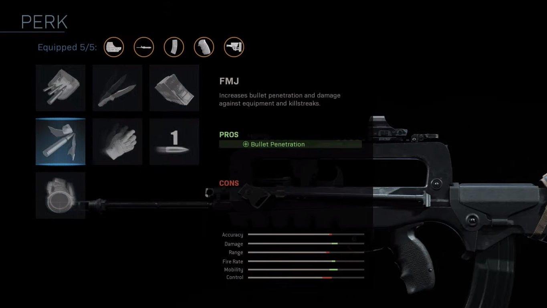 Call of Duty: Modern Warfare Weapon Perks list