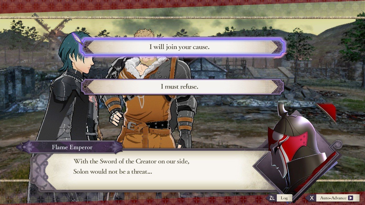 When the Flame Emperor asks you to join forces in Fire Emblem: Three Houses, you're given two possible responses: yes or no. © Koei Tecmo