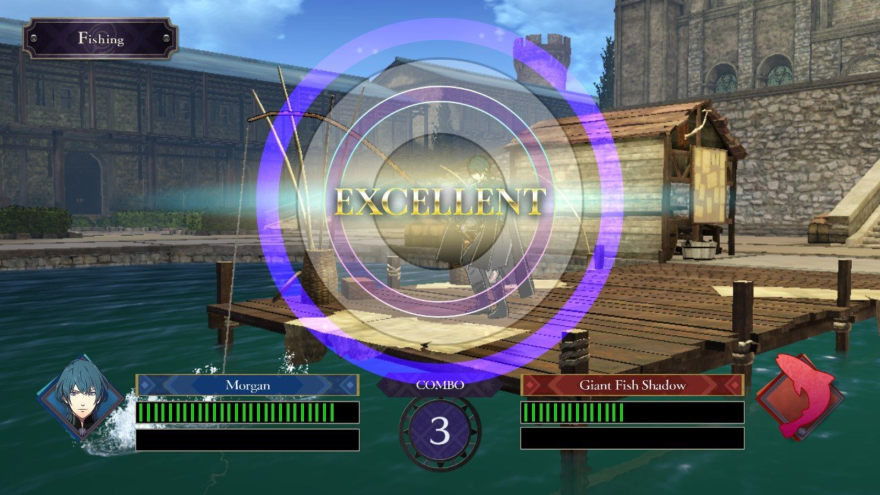 To catch a fish in Fire Emblem: Three Houses, press A to launch the quicktime event, then press A again when the outer circle lines up with the inner shadowed circle.