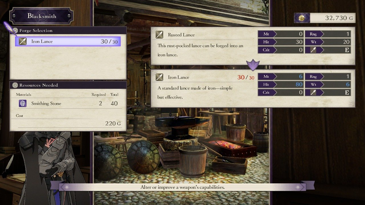 You can view the stats of rusted weapons before you forge them in Fire Emblem: Three Houses.