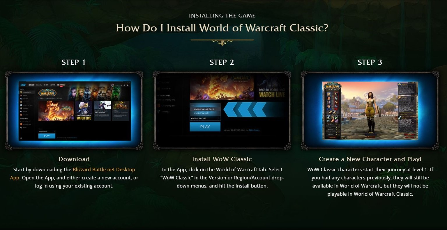 The install option for WoW Classic can be found in a drop-down menu in the Blizzard launcher on the World of Warcraft page. © Blizzard
