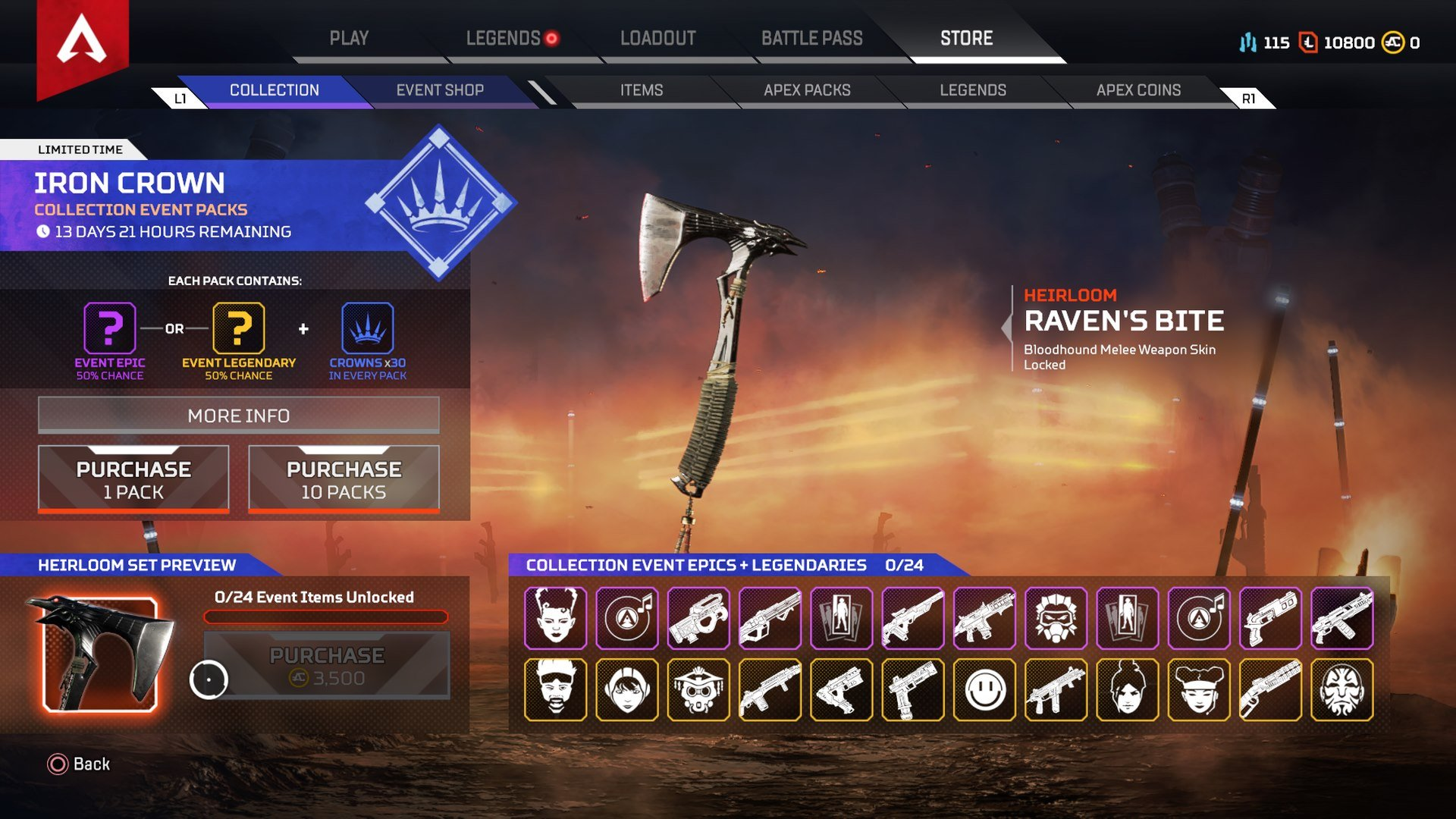 Rewards for completing Iron Crown Collection Event challenges include the ability to open Iron Crown Collection Packs in Apex Legends.