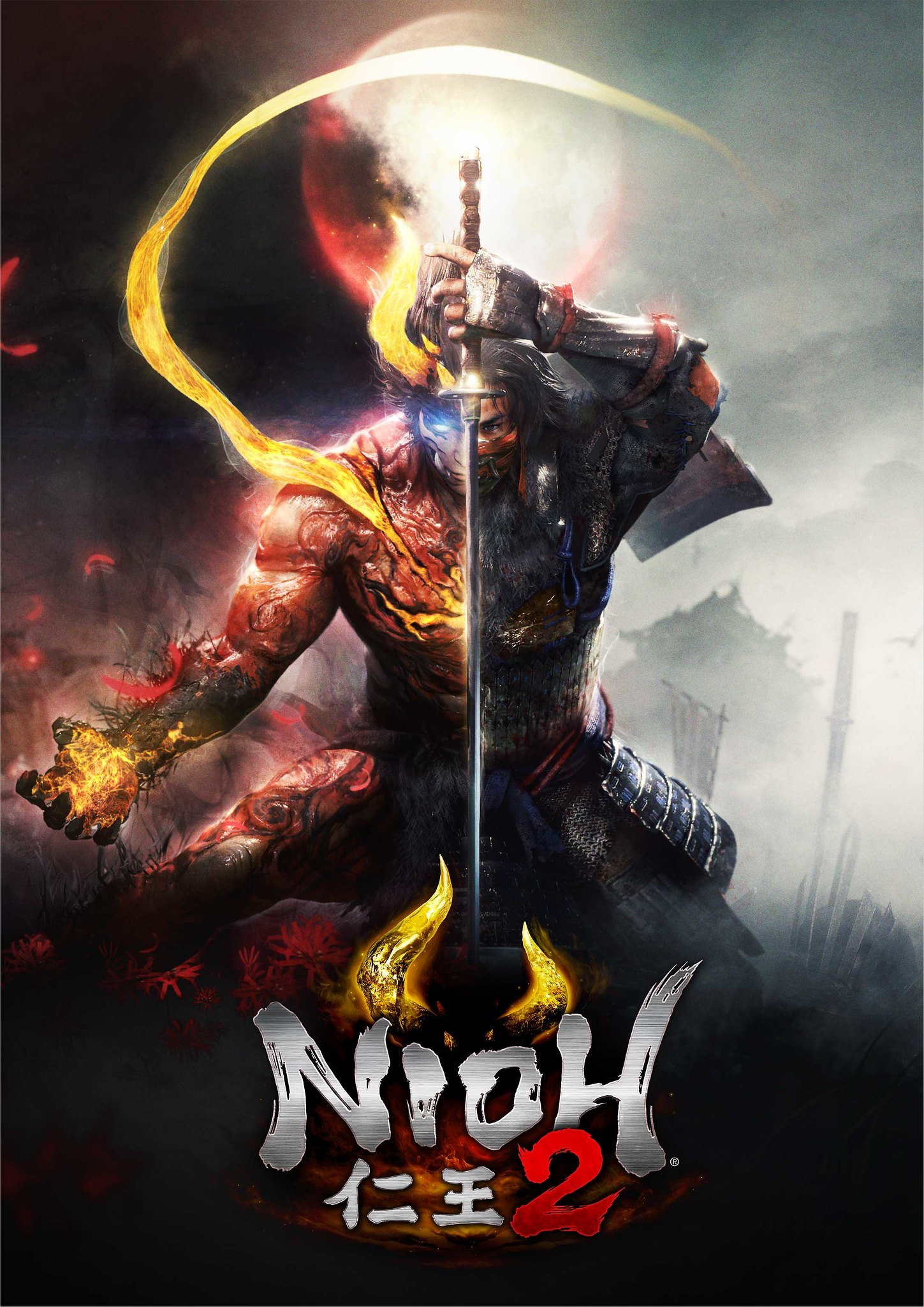 The Nioh 2 key art depicts a half-blood samura © Team Ninja