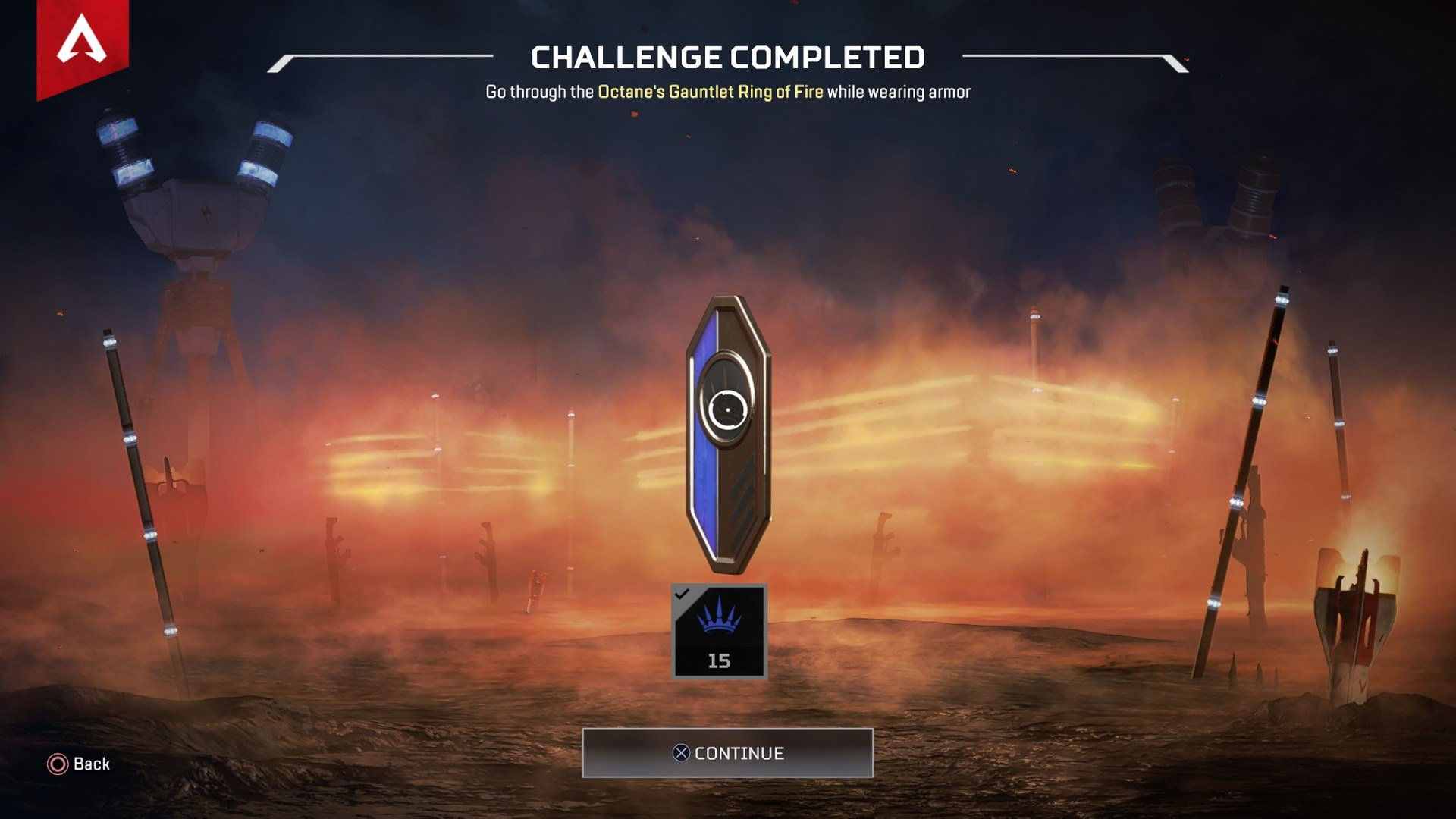 When you complete Octane's Gauntlet Ring of Fire you'll see this completion screen at the end of your Apex Legends match.