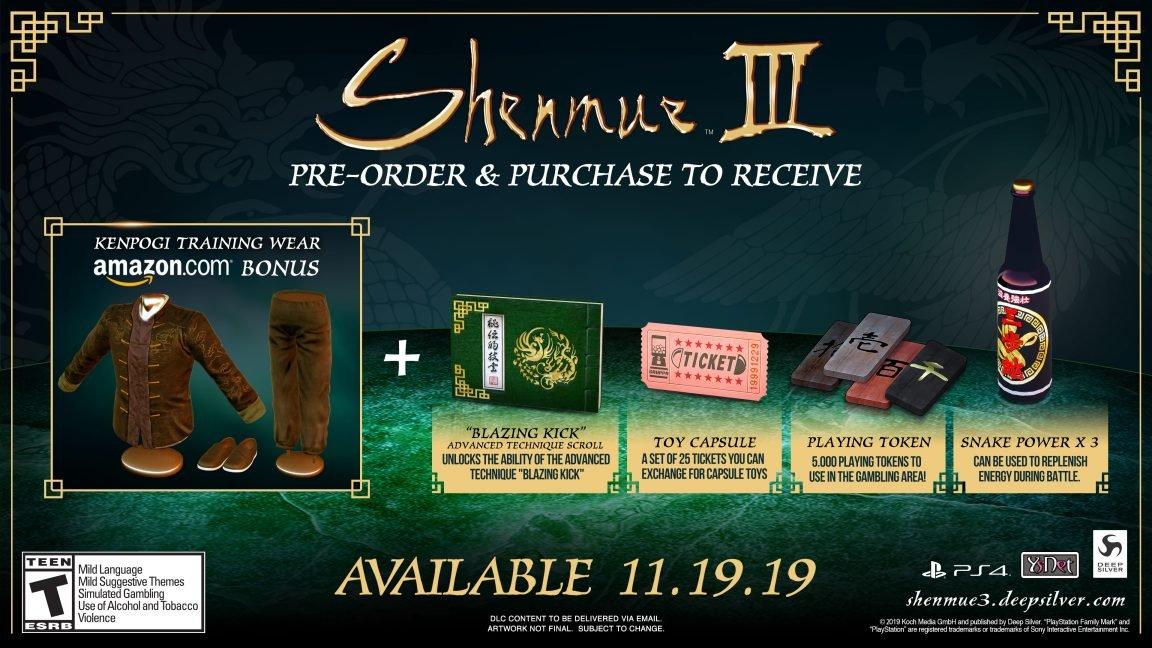 Shenmue 3 outfit amazon pre-order bonus